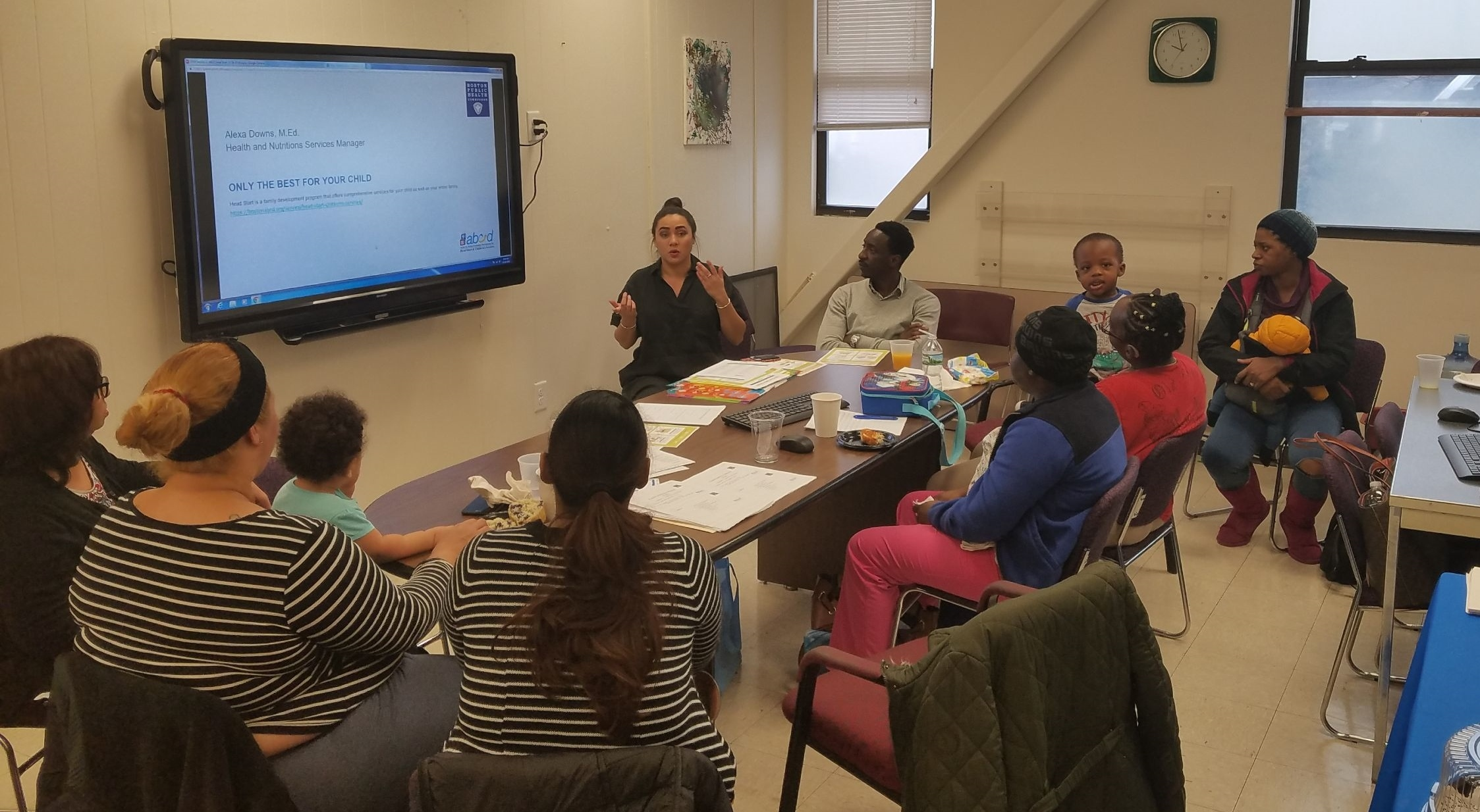 October 24, 2018, the first PAN session ABCD Geneva Avenue. Participants heard from Alexa Down, M. ED and Moussa Cisse (ABCD Health and Nutrition Services Managers) about the importance of having healthier options and the role as service managers as it relates to asthma and nutrition at the childcare center. Participants also learned about local food resources such as Fresh Truck, Fair Foods, SNAP, and other affordable food resources in Boston.