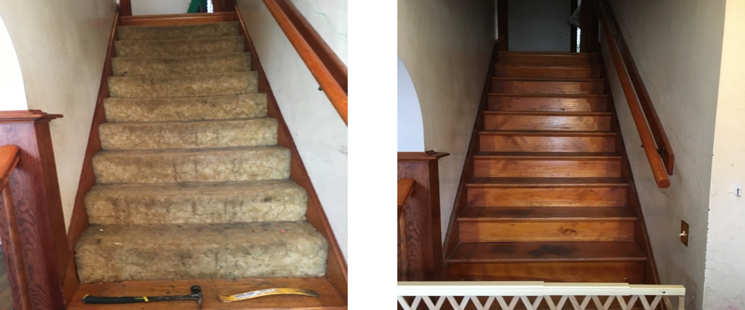 Carpeted staircase removed as an asthma trigger