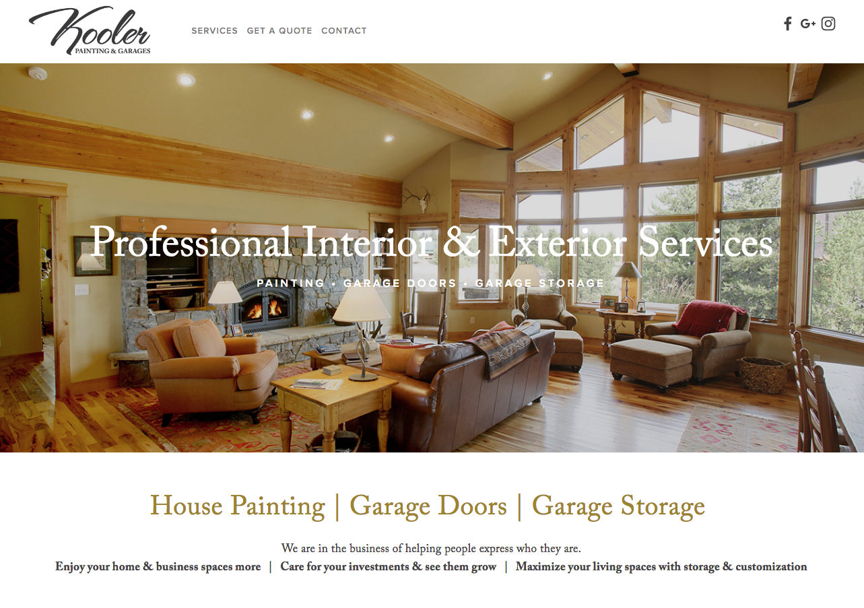 Kooler painting and garages web design