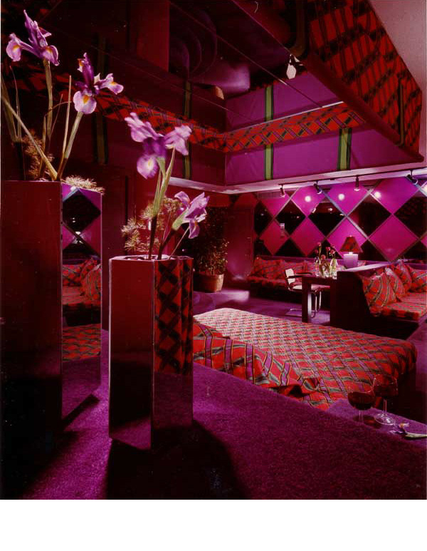 Purple vinyl and smoke mirror was used in '4th Dimension', one of the favorite party rooms for guests.