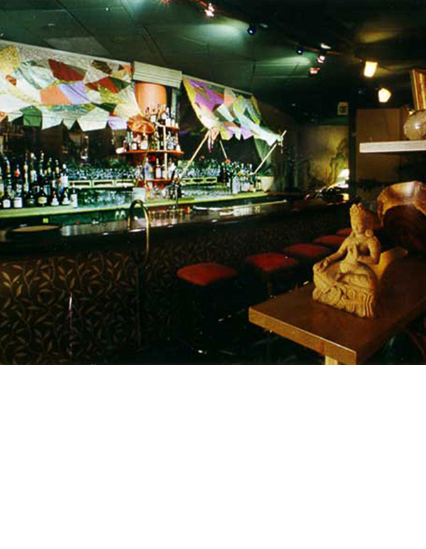 Scraps of recycled silk were sewn together for a canopy over the bar.