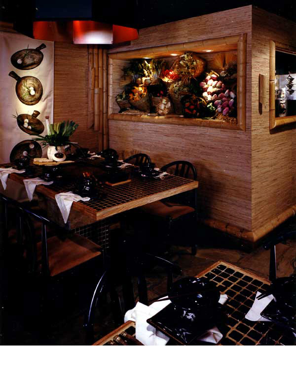 Grills and hoods, were a part of each table setting so that customers could prepare their own dishes.