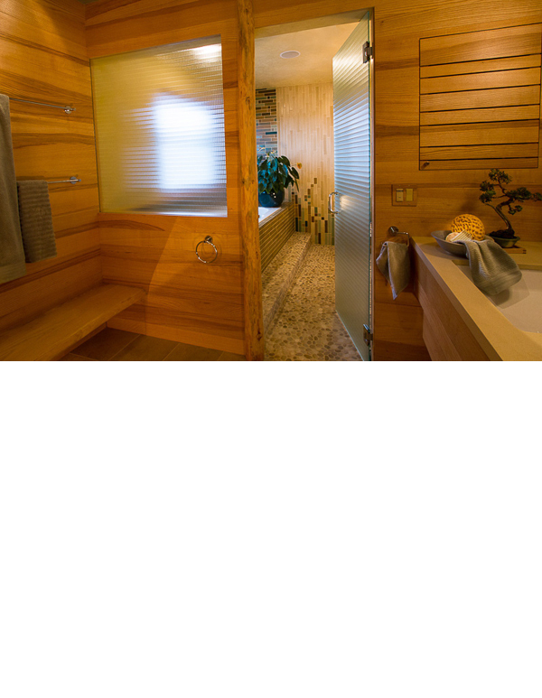 Quarter sawn ash was used throughout the master bath sink area.