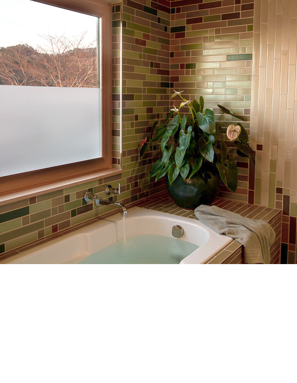 """Tones from the hillside landscape at dusk were used in selecting 15 sizes of 2""""tiles."""