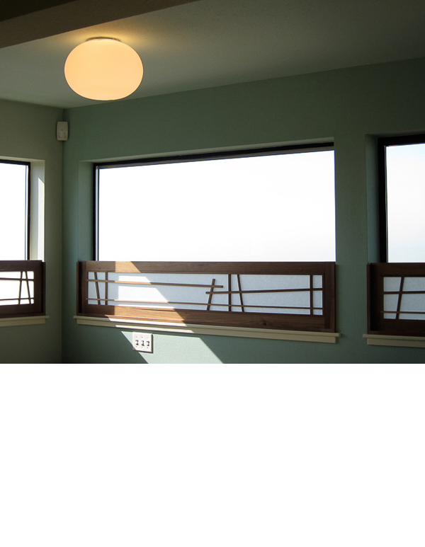 Crooked style shoji panels were made to hide roof from bed view.