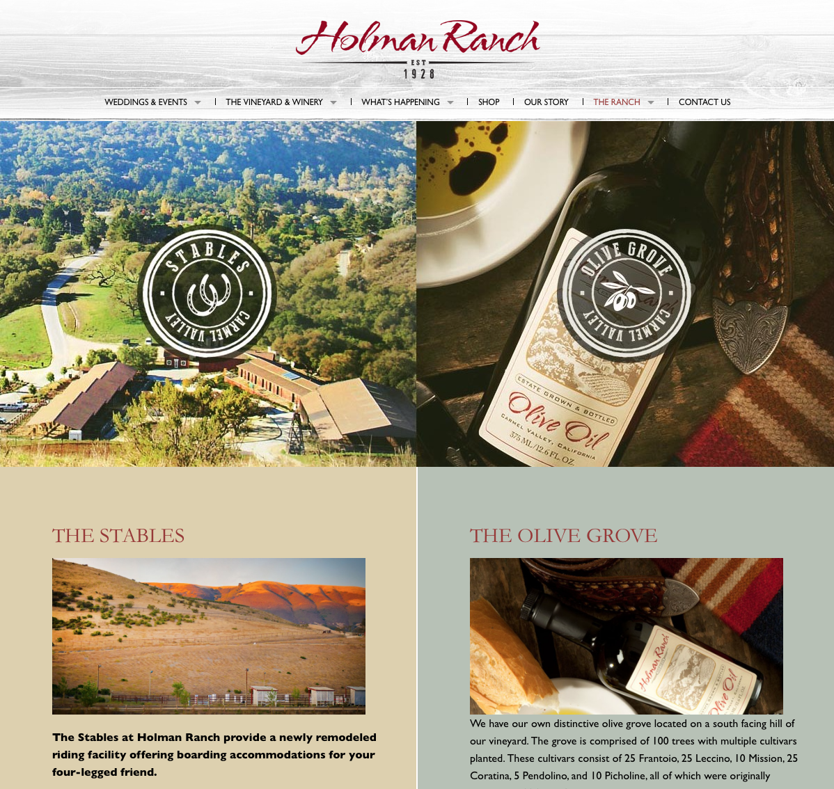 """Holman Ranch I Carmel, CA   Holman Ranch is elegant and sophisticated, yet charming and cozy, with understated elegance all around. Imagine sipping estate-grown wine in our stunning vineyards, exchanging vows al fresco among the rolling hills, tasting buttery and sumptuous house-pressed olive oil at your rehearsal dinner in our enchanting olive orchard, indulging in the Ranch's gorgeous grounds, and more.  We only hold one wedding at a time, ensuring an intimate ceremony for you and your guests.  The focal point of Holman Ranch is its recently restored 1928 Carmel stone hacienda, a magical estate that sits atop a grassy hill, offering breathtaking 360-degree views of the Santa Lucia Mountains. You can stay in the comfort of the most modern accommodations while being surrounded with the distinct feeling of the """"original ranch days"""".  With a breadth of options, your time at picturesque Holman Ranch should not be limited to just a ceremony. Once your vows have been exchanged, time for next steps, enjoy one of the Ranch's unforgettable experiences."""