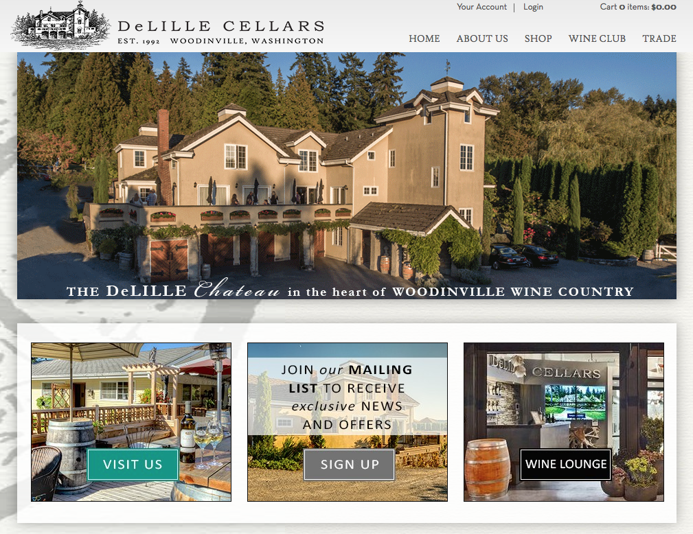 DeLille Cellars I Woodinville, WA   Drawing inspiration from French architecture, the DeLille Cellars Chateau is a charming reminder of the Lill Family European ancestry, and a nod to our highly acclaimed Bordeaux-style wines. Elegant and inviting with rustic warmth.  From the Grand Room, sparkling with brass chandeliers and firelight, to the gardens and ponds dotting the ten acre estate, you will be hard pressed to find a venue with more character and ambiance than our winery home.   Using the combined spaces of the grand room which opens onto an expansive old-world style terrace; you may comfortably entertain up to 200 guests. A short stroll away, a hidden lawn nestled among cedars provides a private setting for your ceremony. You can do it all in the extraordinary long stay you are offered with the venue. We host only one wedding per day so that you can truly customize your wedding.  Preferred Caterers, world-class wines, privacy and hospitality on a ten acre winery estate... fall in love all over again at DeLille Cellars Chateau.