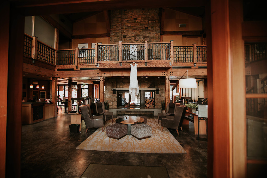 Willow Lodge's very rustic, rich lobby made the perfect spot to get creative with the details.