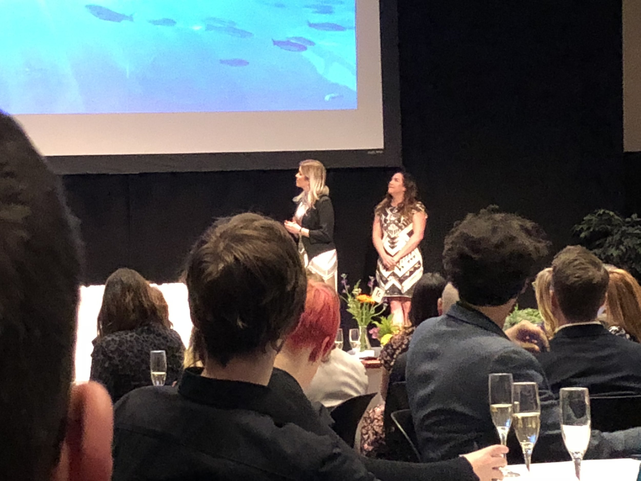 Hotbed's Executive Producer, Jackie Robles (right), presenting at the ADDY Awards.