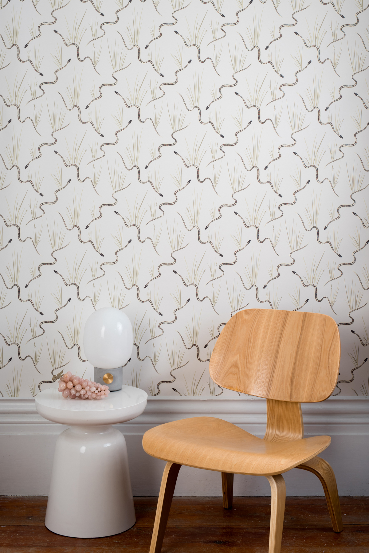 Kate Golding Garter Snake wallpaper // Modern wallcoverings and interior decor.