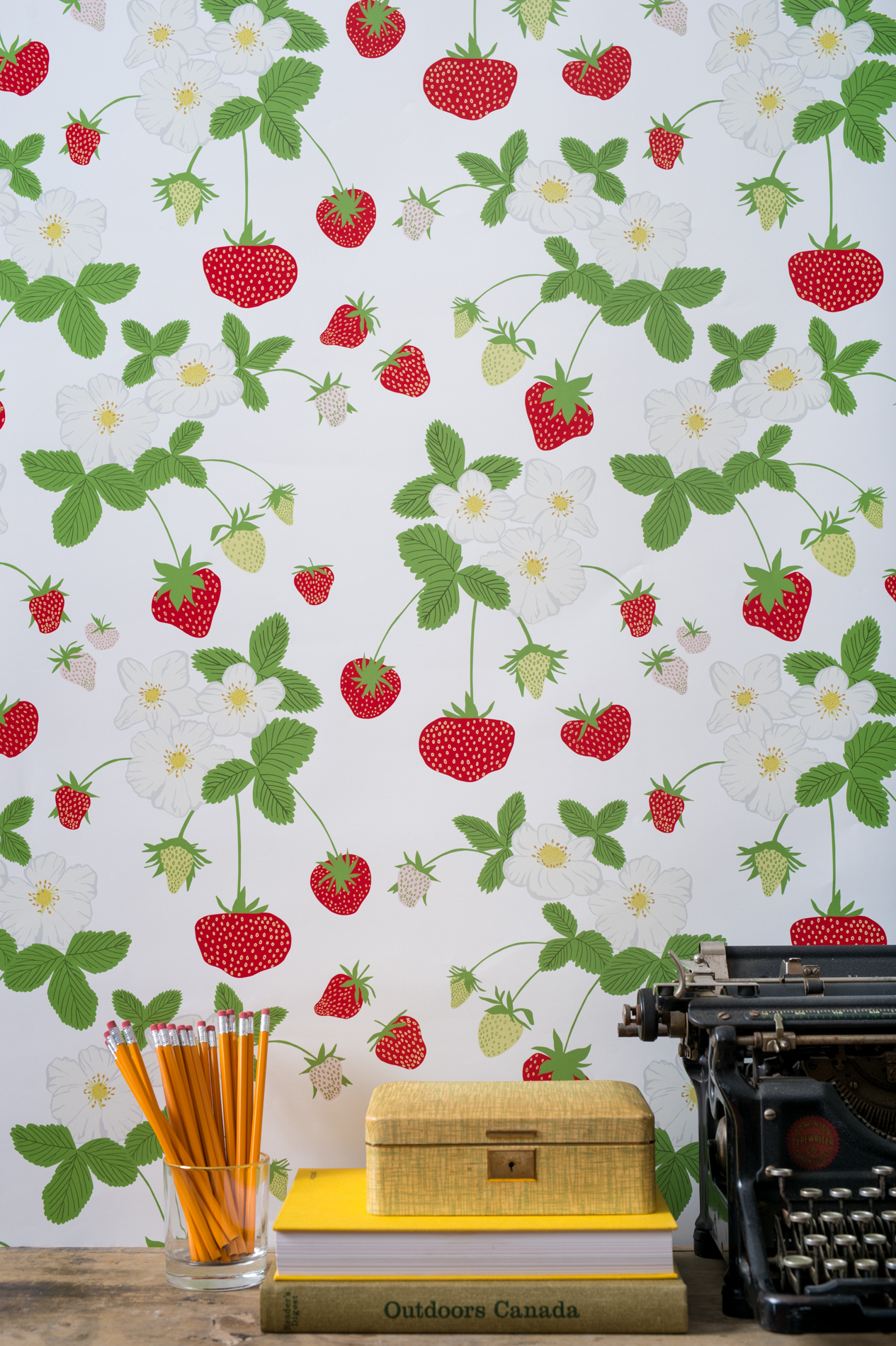 Kate Golding Strawberry Social wallpaper // Modern wallcoverings and interior decor.