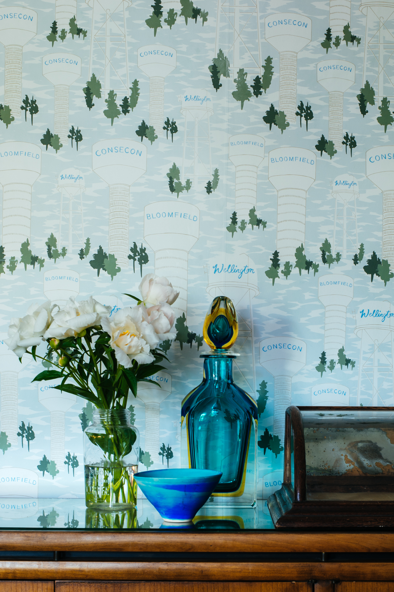 Kate Golding Water Tower wallpaper // Modern wallcoverings and interior decor.