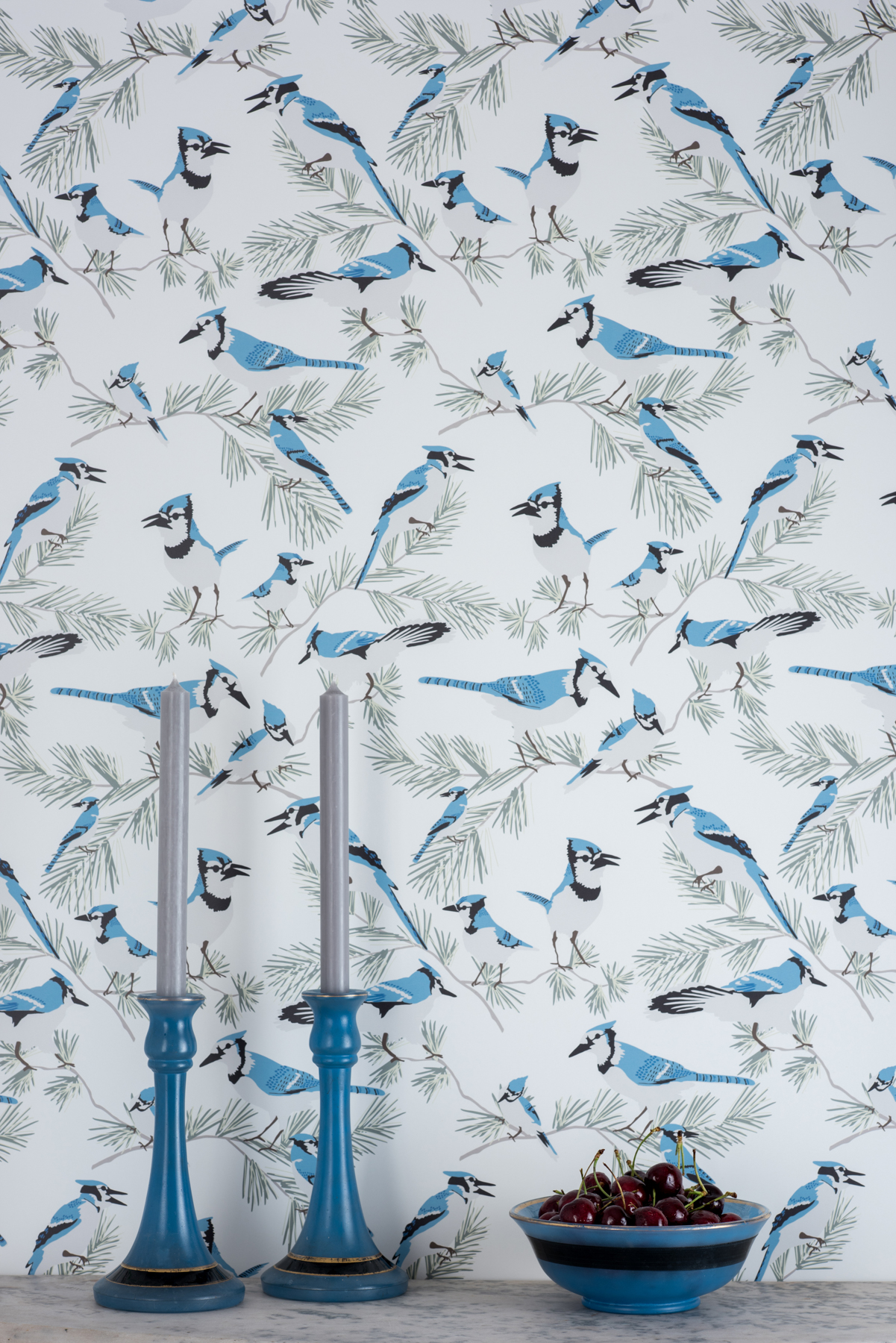 Kate Golding Blue Jay wallpaper // Modern wallcoverings and interior decor.
