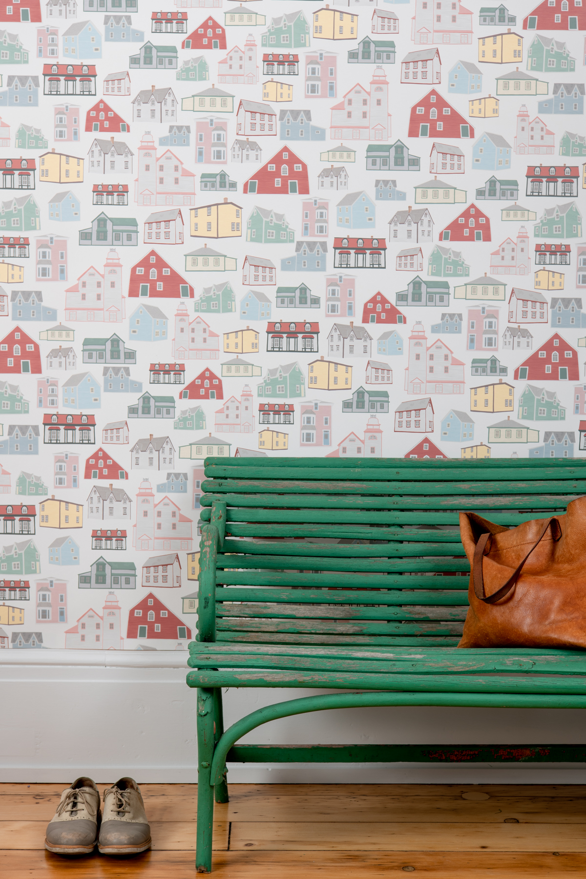 Kate Golding Bonavista Houses wallpaper // Modern wallcoverings and interior decor.
