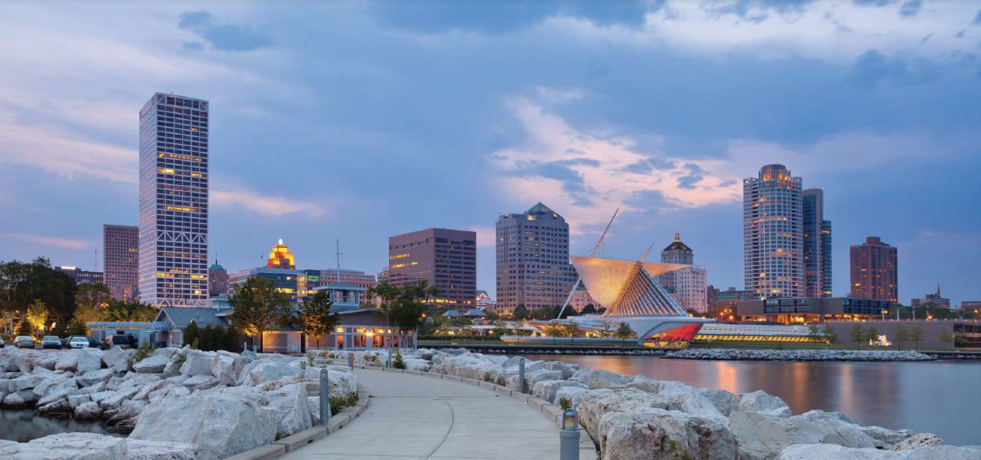View of downtown Milwaukee and the shoreline of Lake Michigan