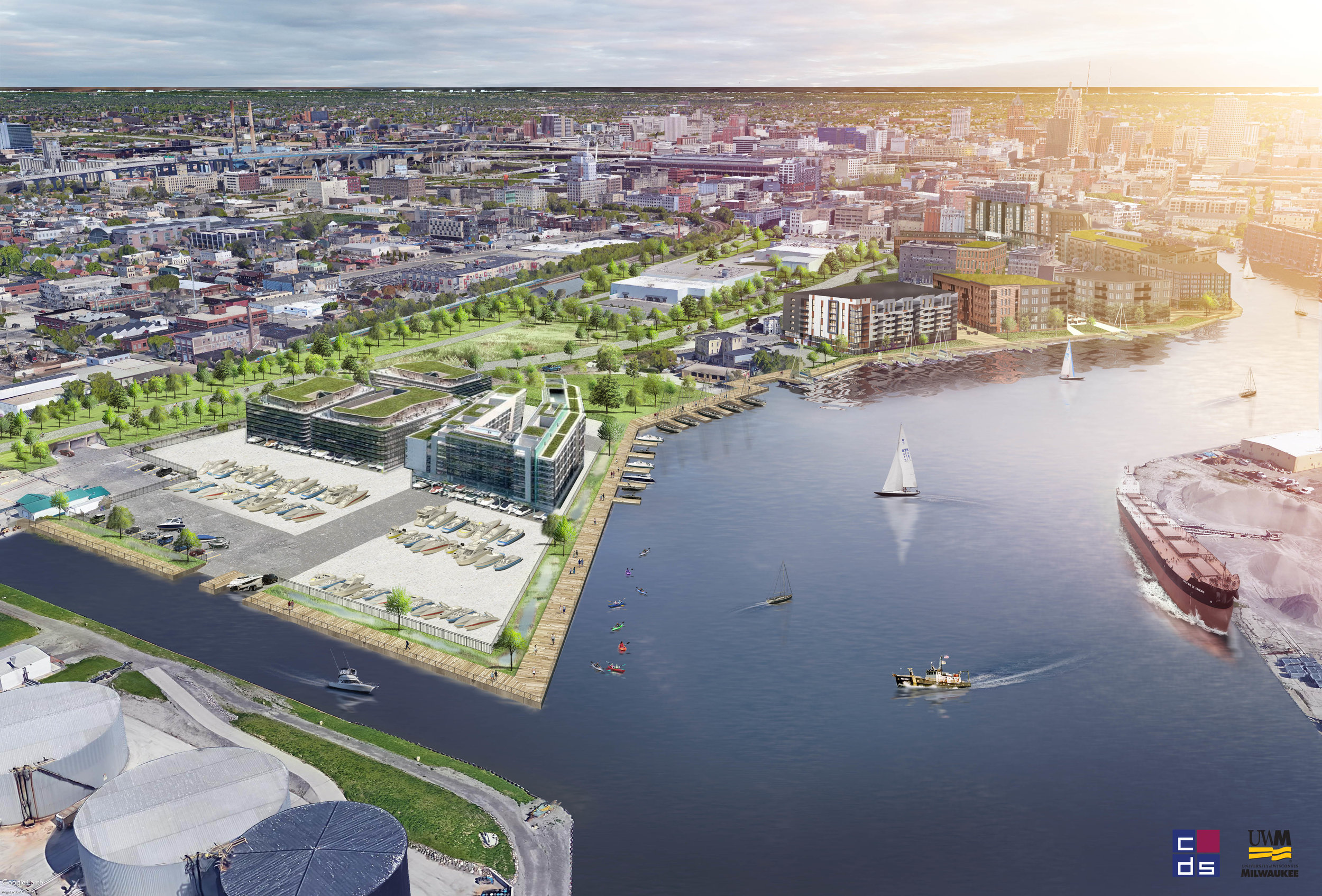 Conceptual rendering by UWM Community Design Studios depicting a Riverwalk on the north end of the Harbor District.