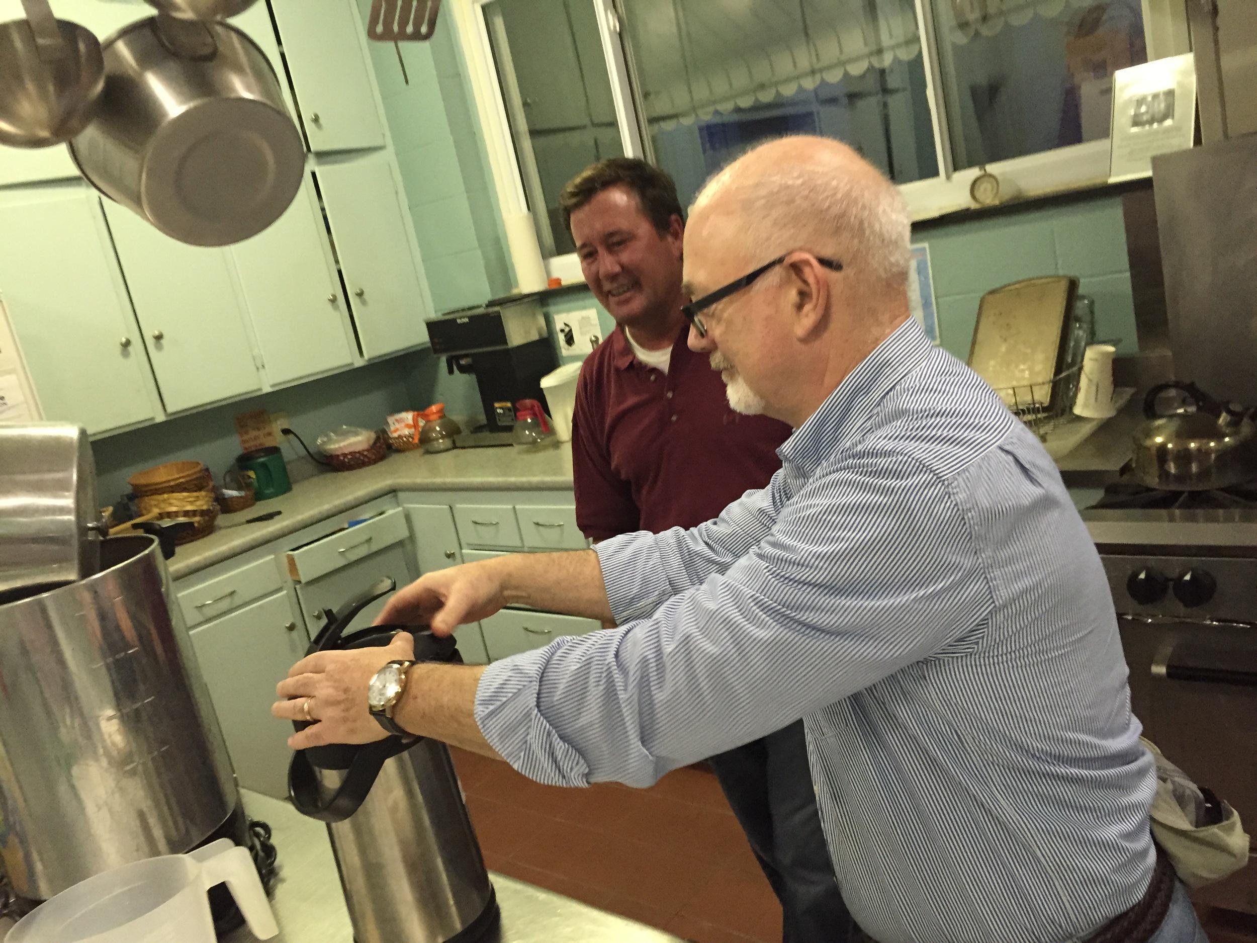 Dan prepares coffee