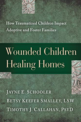 Wounded Children, Healing Homes: How Traumatized Children Impact Adoptive and Foster Familiesby Jayne Schooler - Why doesn't our child return our love? What are we failing to understand? What are we failing to do? These questions can fill the minds of adoptive parents caring for wounded, traumatized children. Families often enter into this experience with high expectations for their child and for themselves but are broadsided by shattered assumptions. This book addresses the reality of those unmet expectations and offers validation and solutions for the challenges of parenting deeply traumatized and emotionally disturbed children.