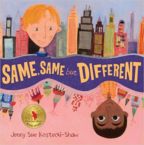 Same, Same but Different by: Jenny Sue Kostecki-Shaw - Elliot lives in America, and Kailash lives in India. They are pen pals. By exchanging letters and pictures, they learn that they both love to climb trees, have pets, and go to school. Their worlds might look different, but they are actually similar. Same, same. But different!