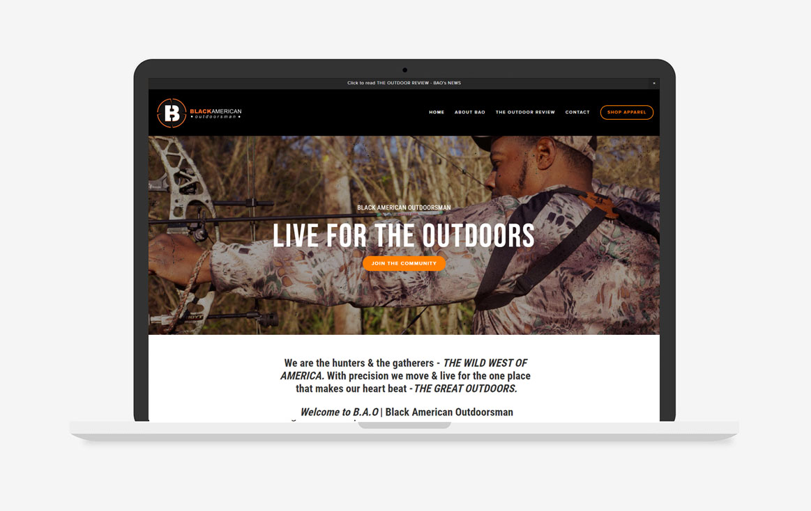 Black American Outdoorsman, Website Design
