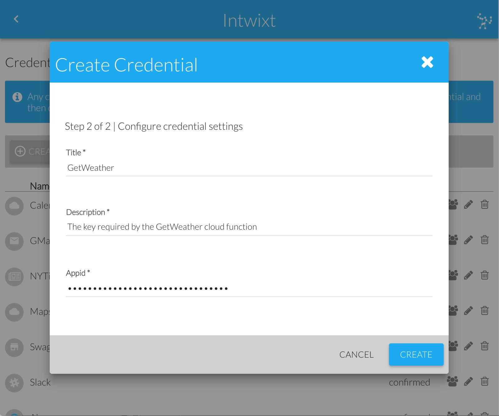 Create Credential Dialog | Configure Settings