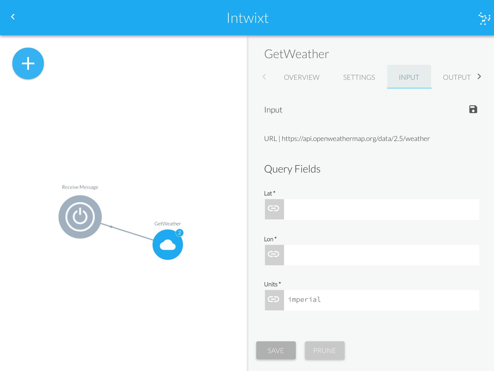 Activity Configuration Panel | INPUT Tab