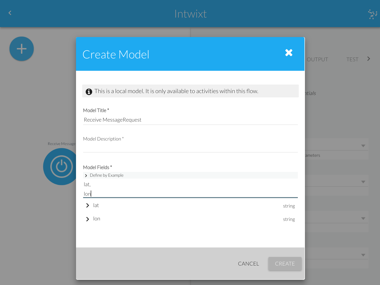 Create Model Dialog | Create local model