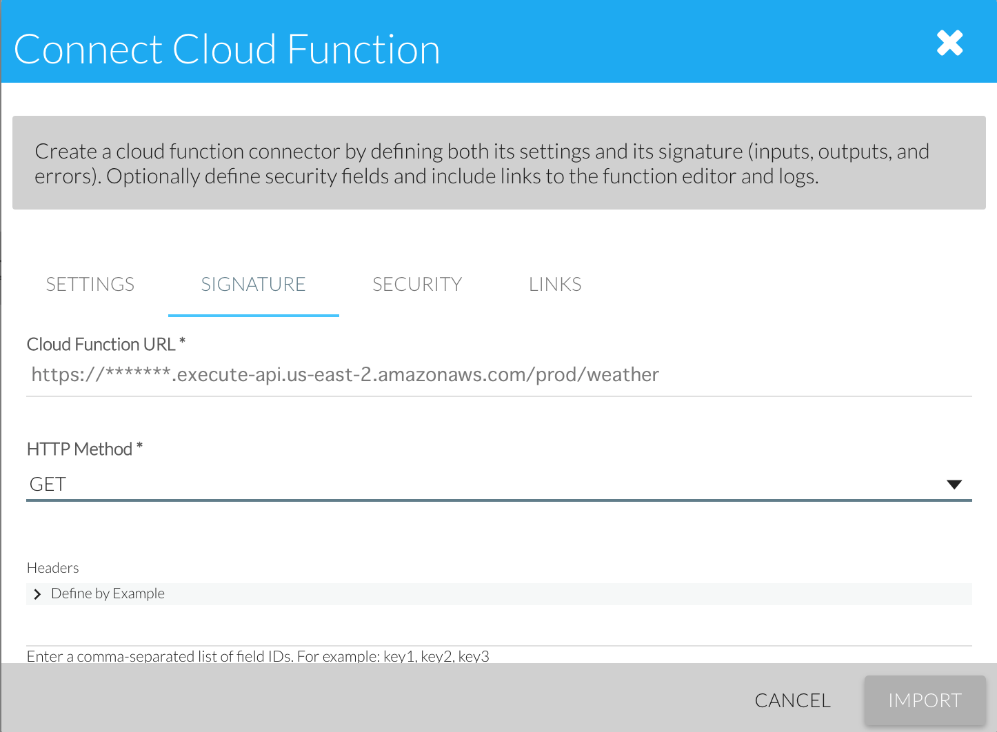 Configuring the function signature