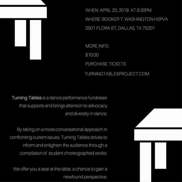 "TURNING TABLES PROJECT     Turning tables serves to bridge the gap between minorities and the arts by stitching together the things we know for sure with the things that we believe are true about each other.  With a goal of shattering implicit biases whilst inspiring and informing the audience to stay ""woke"" and to leave more conscious than they came. Turning Tables is a collection of whimsical, informative, and thought provoking pieces prepared and choreographed from student works."