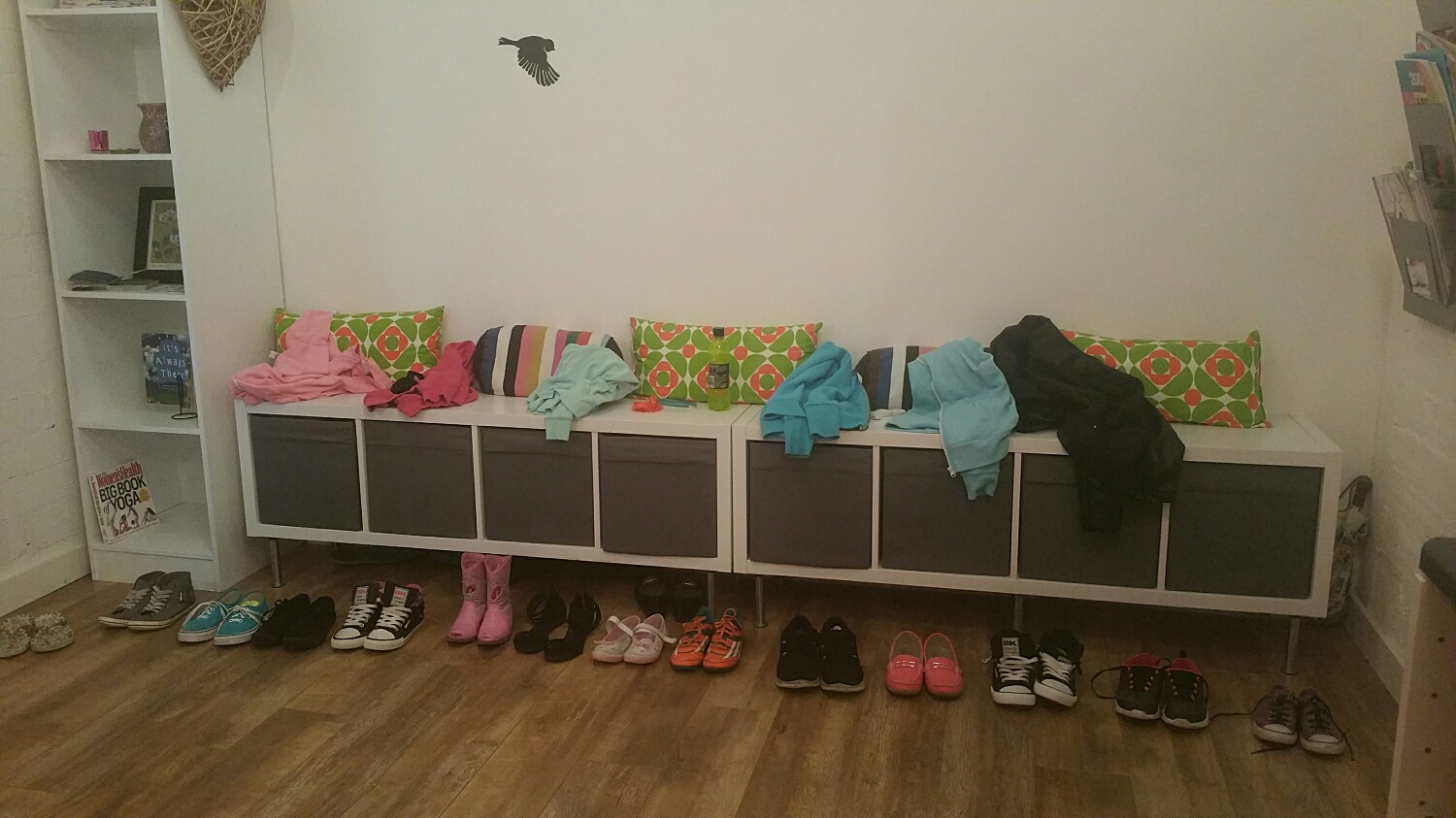 All the little shoes lined up from the kids at Aerial Yoga this evening...super cute!
