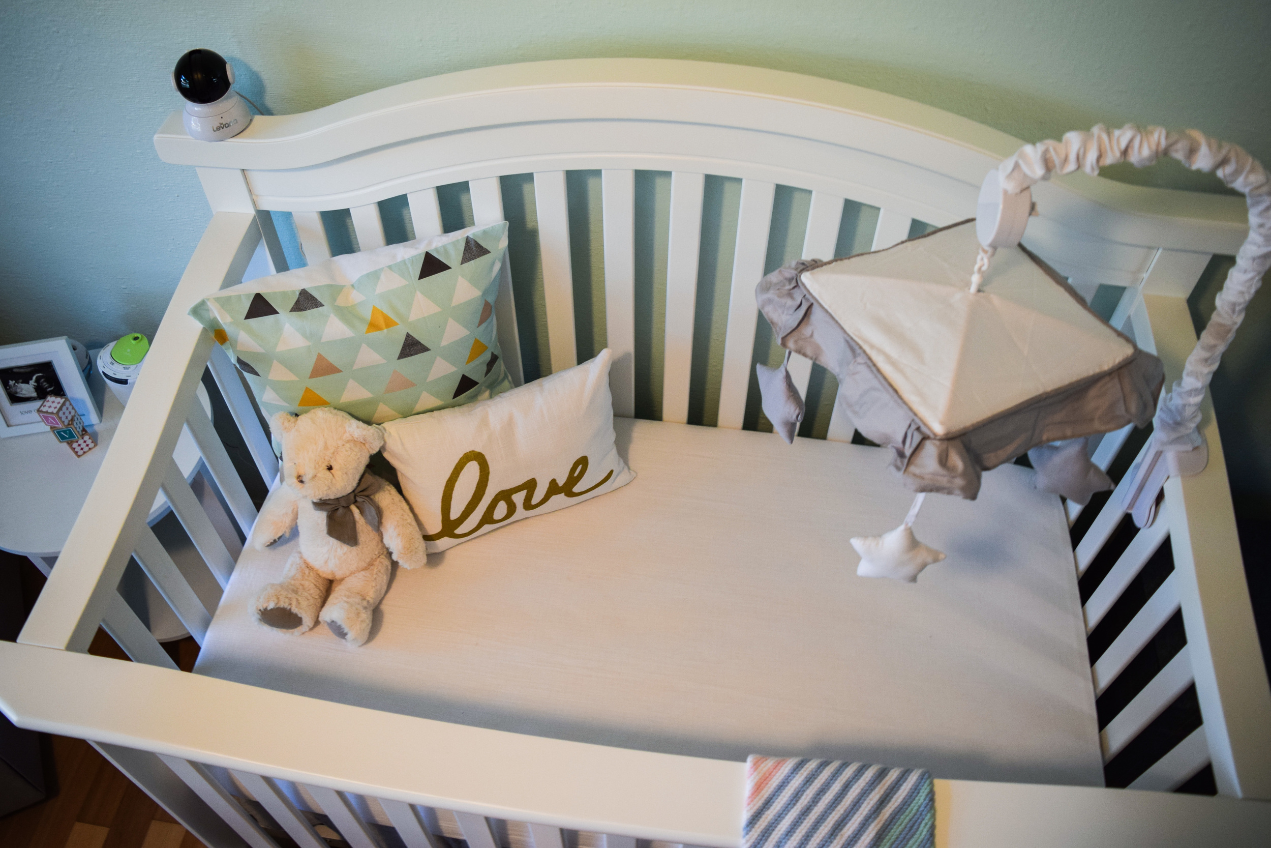 baby girl nursery ideas and decor -- seafoam teal white and grey baby room nursery