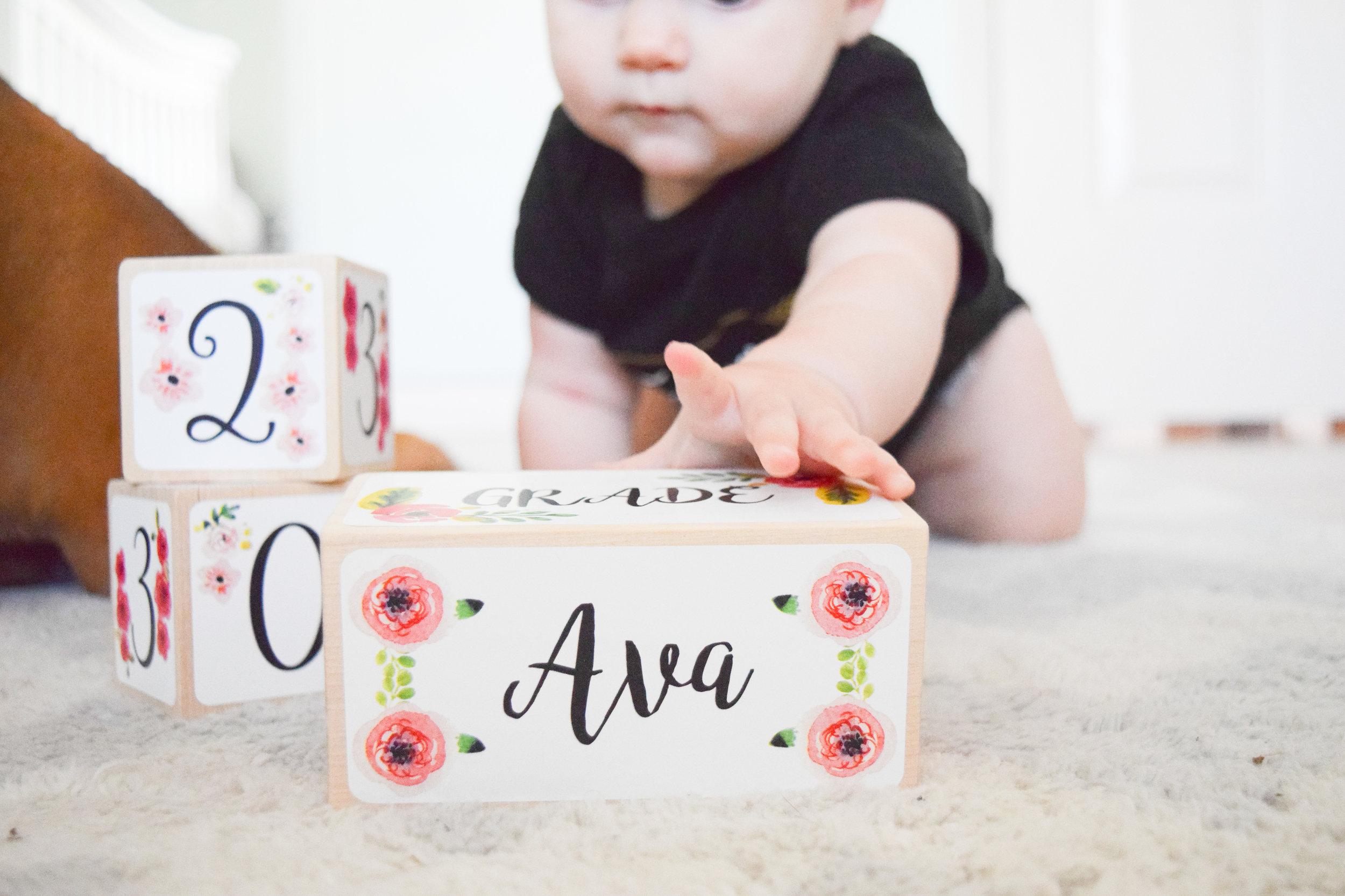 AVA'S 7 MONTH UPDATE | Baby Milestone Blocks GIVEAWAY