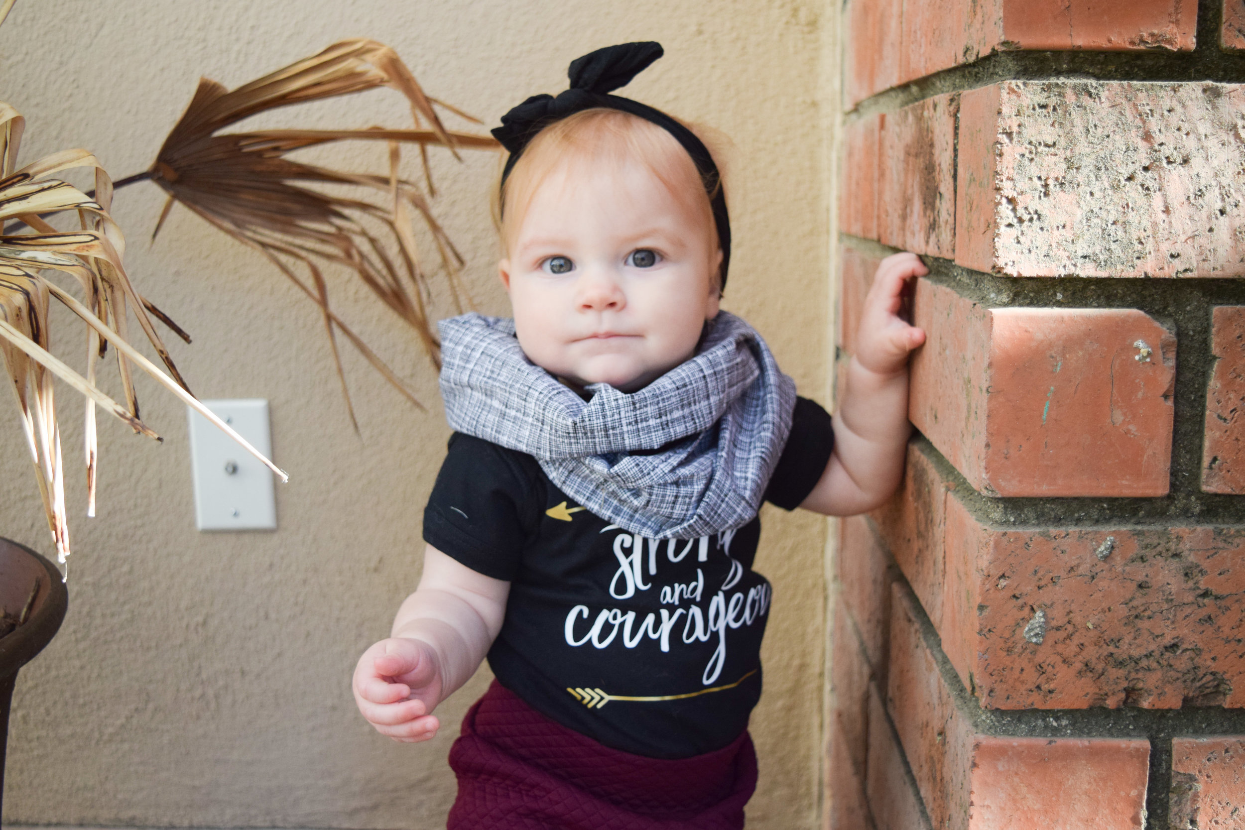 Maroon Baby Bell Bottoms, Black Printed Onesie, Boho Baby Purse, Baby Infinity Scarf