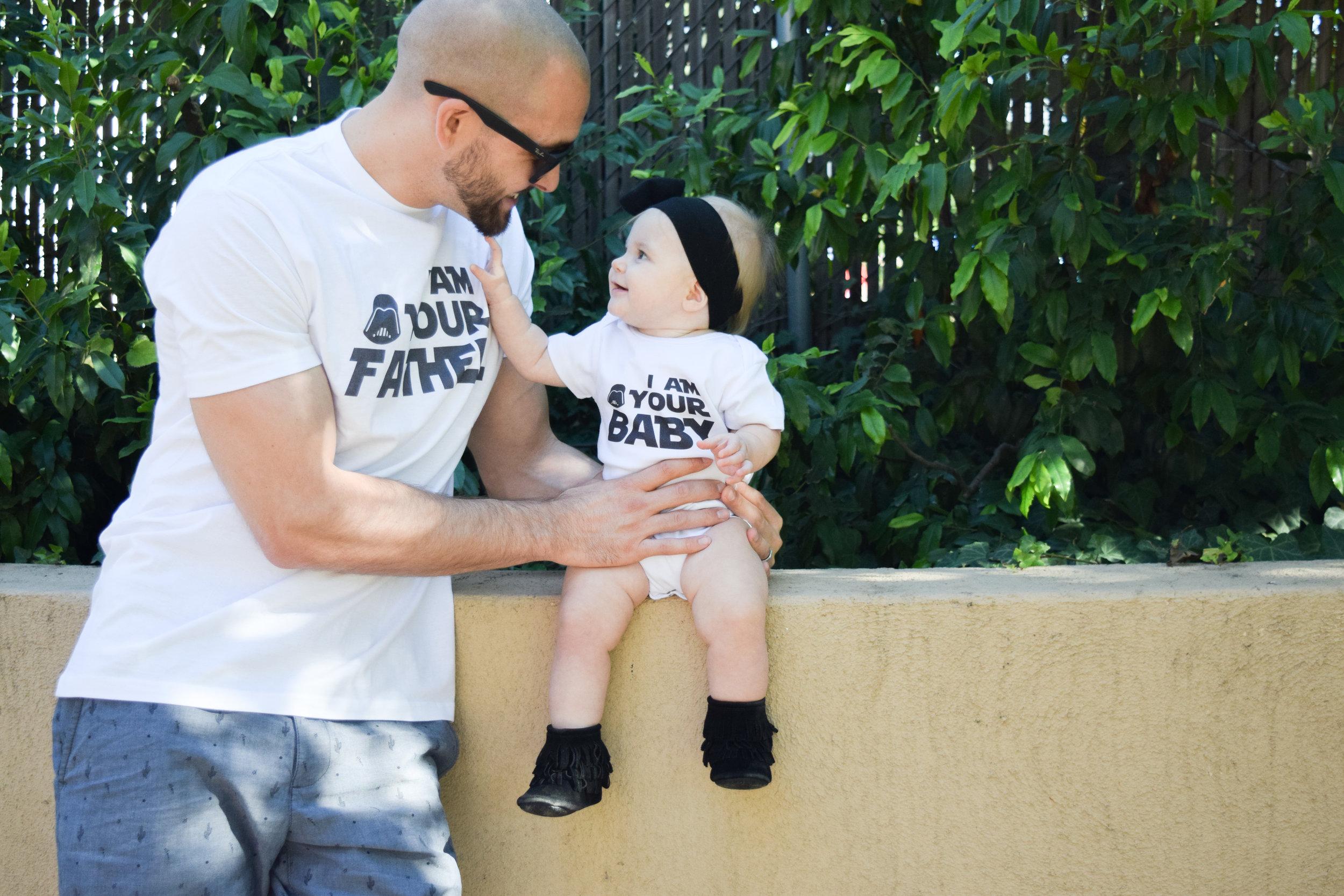 Star Wars Themed Baby Onesie + Daddy Shirt - Daddy/Baby Shirts