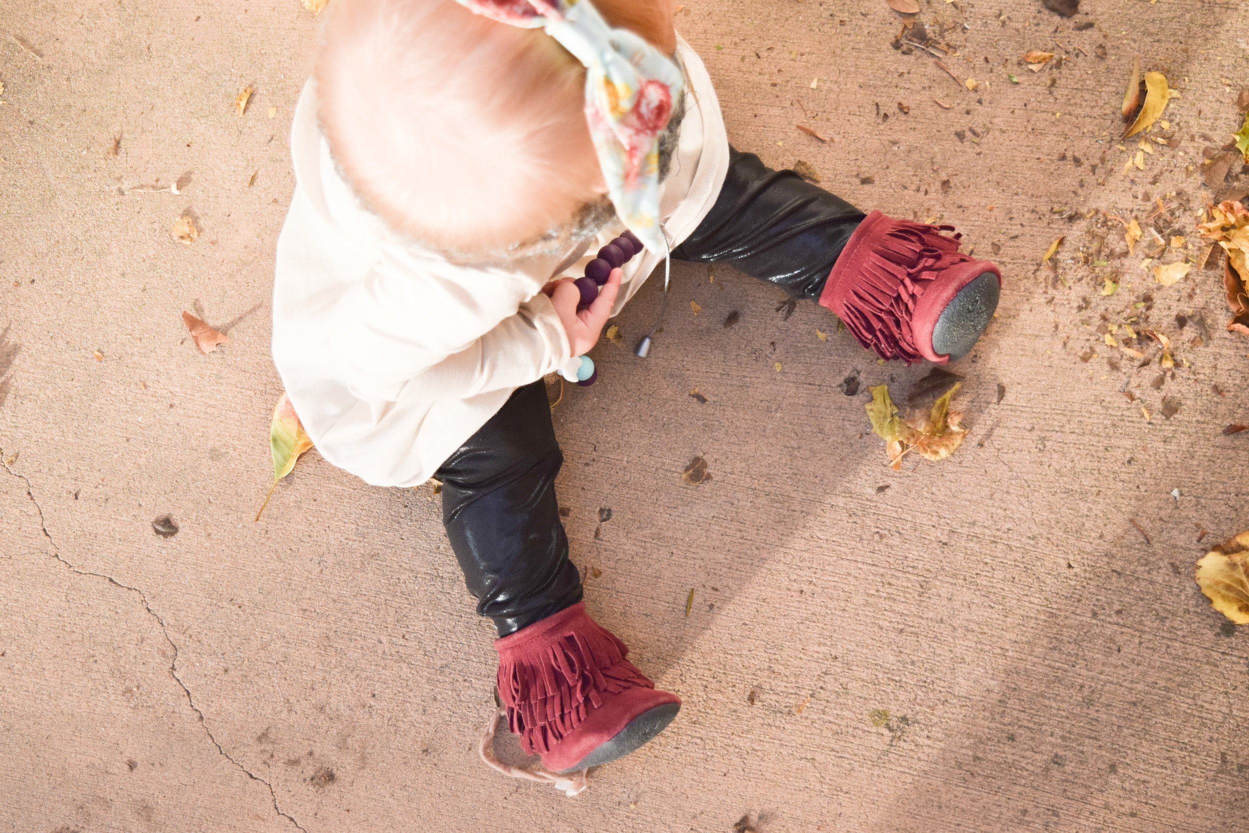 Maroon Fall baby Boots - BABY FASHION | The Perfect Maroon, Tan + Grey Fall Baby Outfit