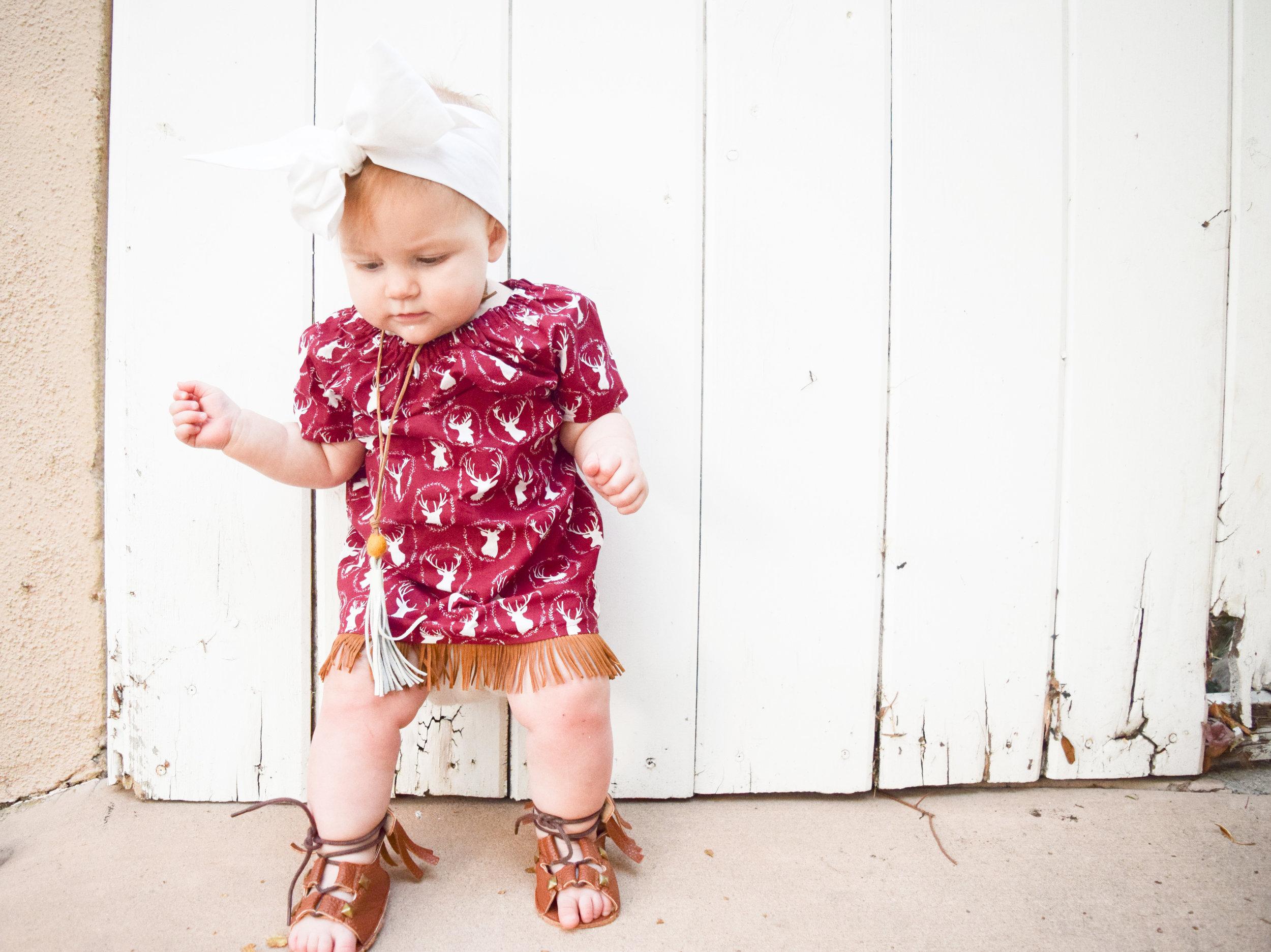 BABY FASHION | Maroon Holiday Reindeer Kids Fringe Dress and Kids Room Teepee