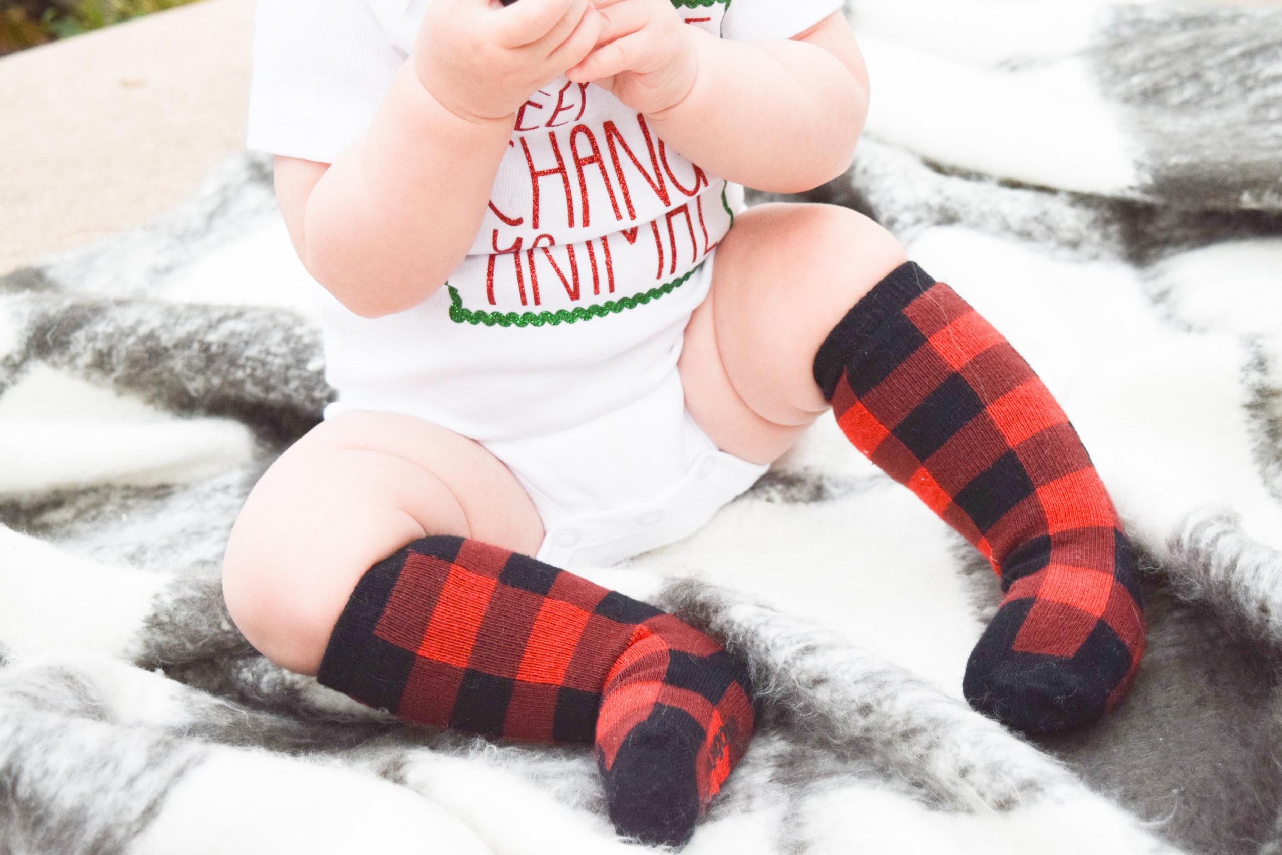 "KIDS FASHION | Baby Holiday Onesie -- ""Keep the change ya filthy animal"" - red plaid holiday socks"