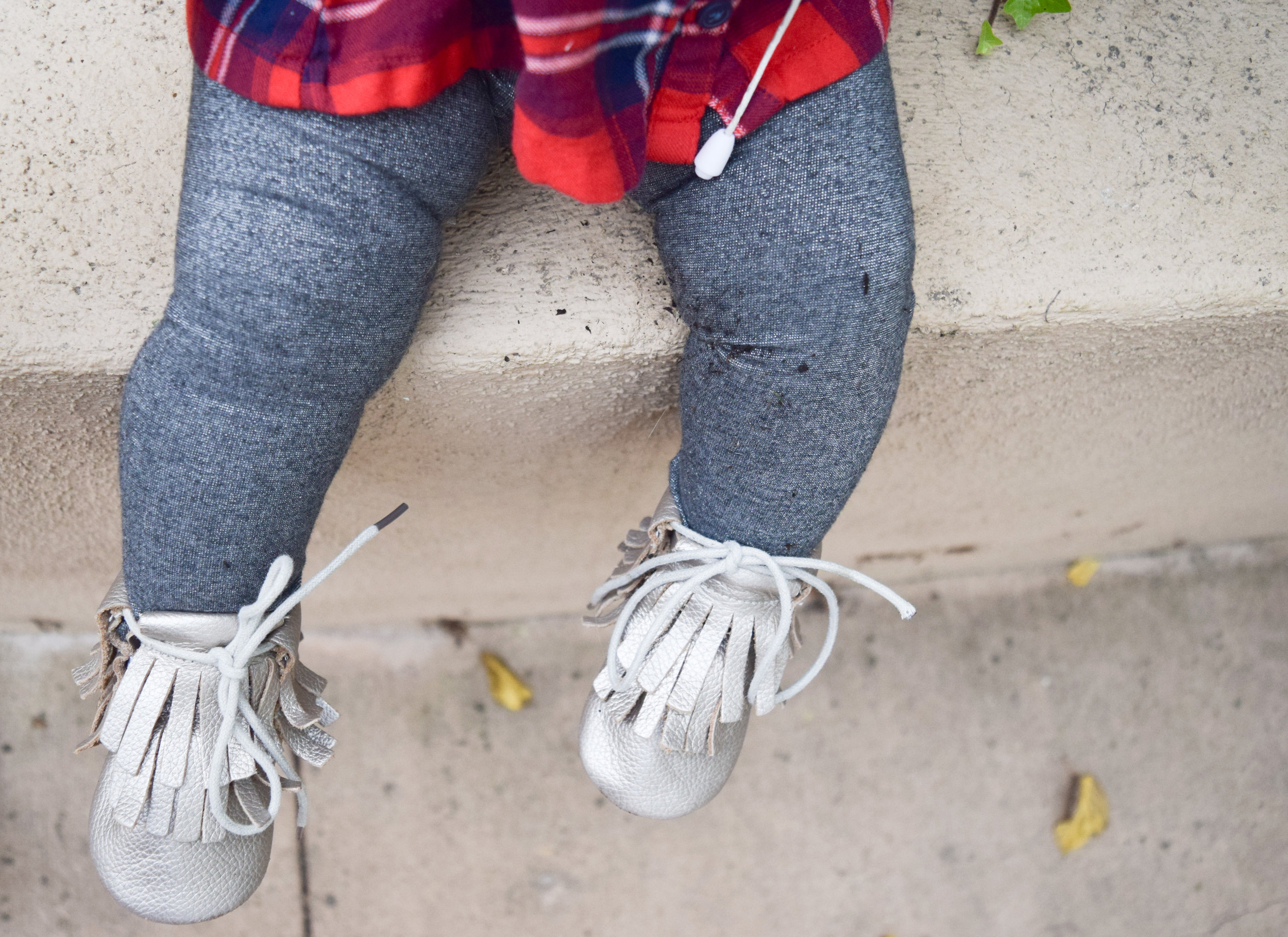BABY FASHION | Red Baby Flannel, Silver Baby Leggings, Fall Purple Baby Bow, Champagne Baby Moccasin Boots