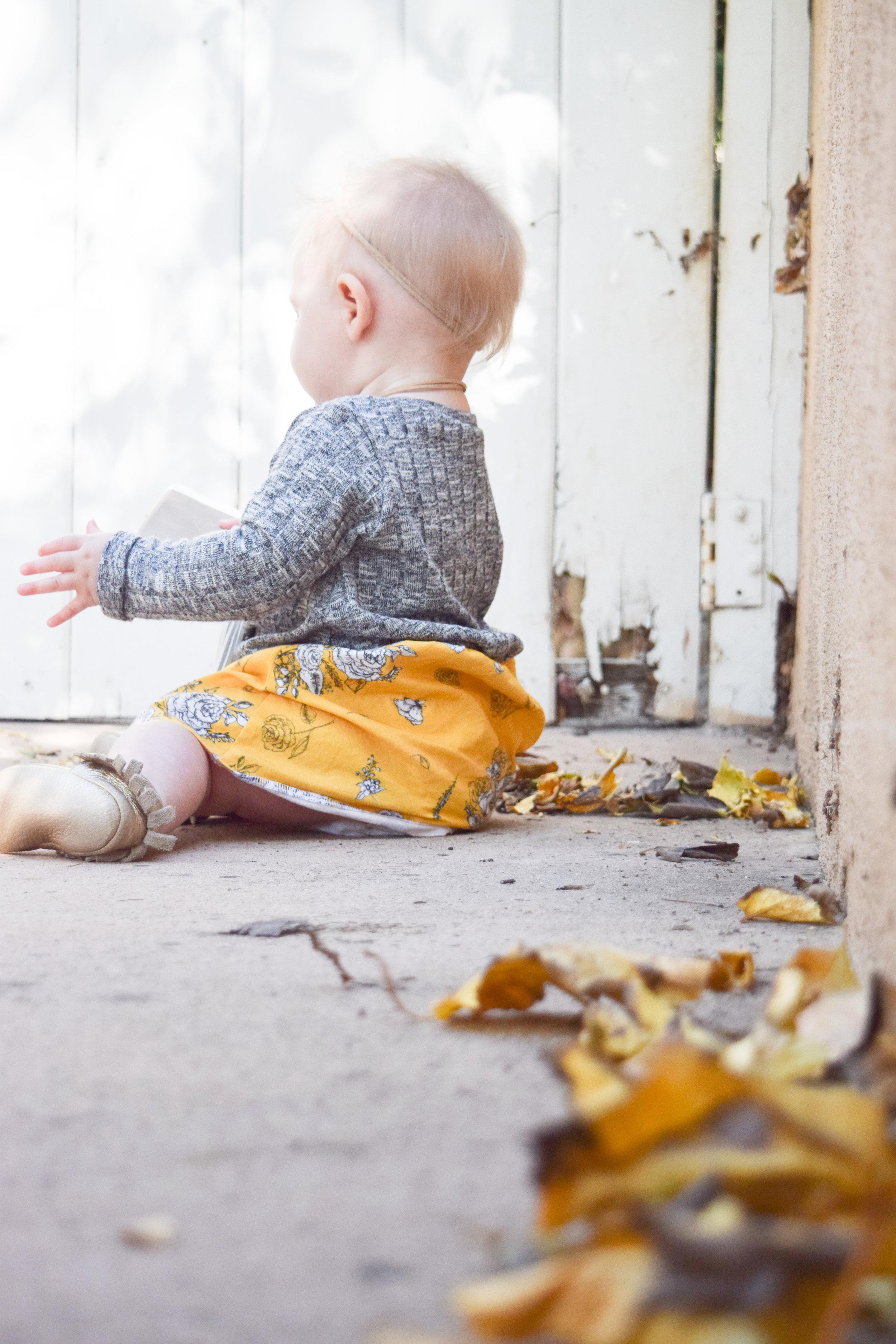 BABY FASHION | Mustard Vintage Floral + Heather Grey Baby Sweater Dress