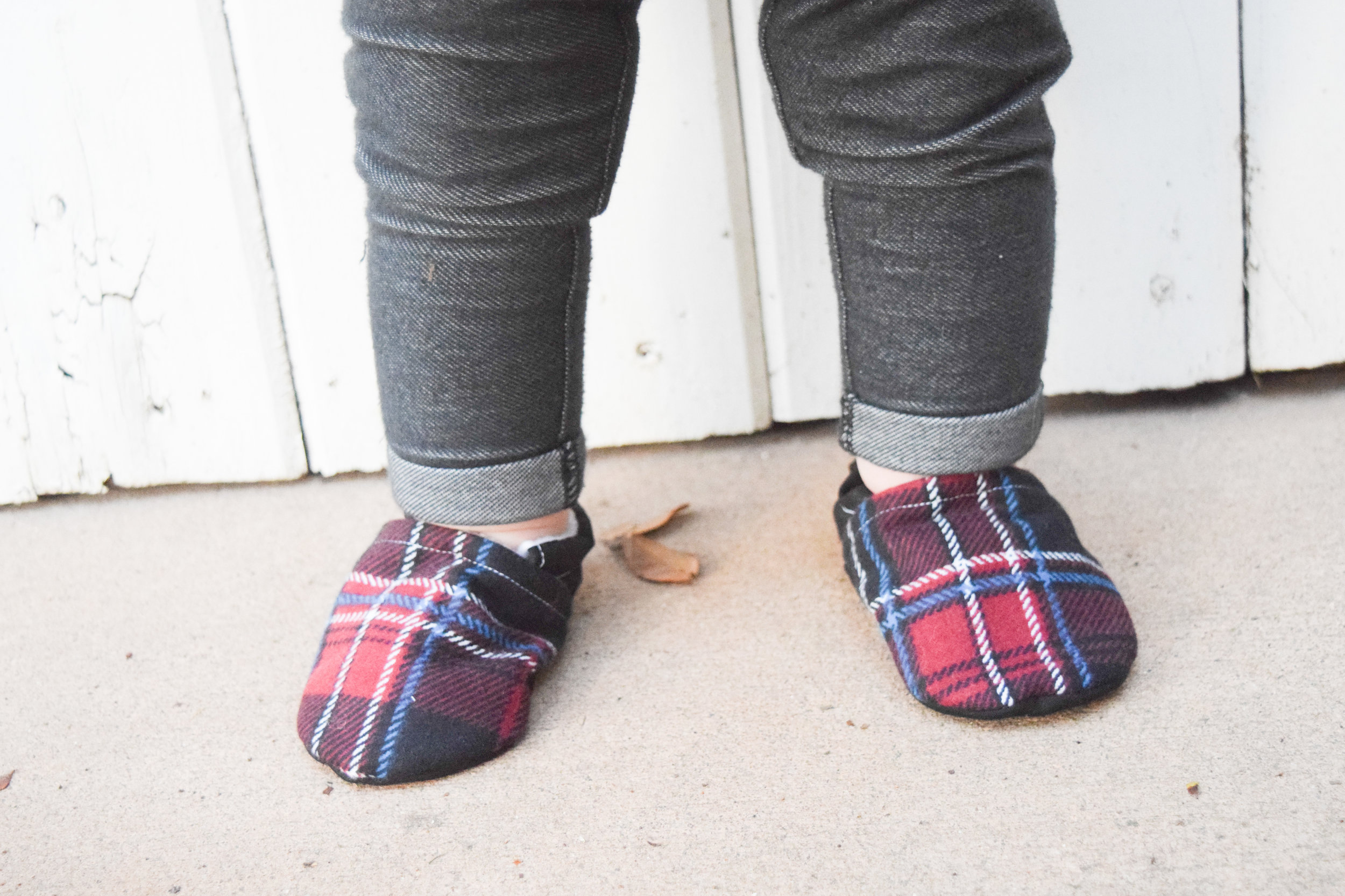 Plaid Holiday Baby Shoes