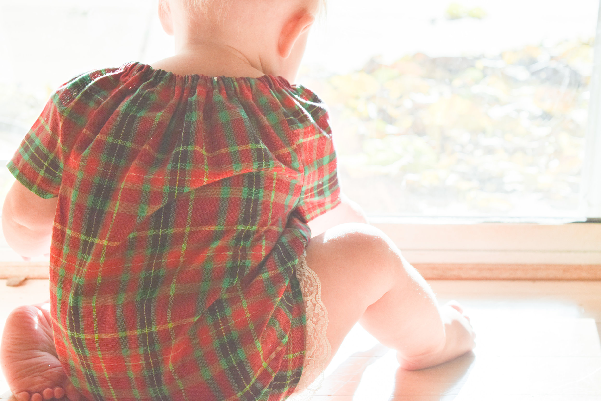 BABY FASHION | A Baby Christmas Dress - Plaid Baby Dress - Silver Baby Shoes - Dainty Baby Bow