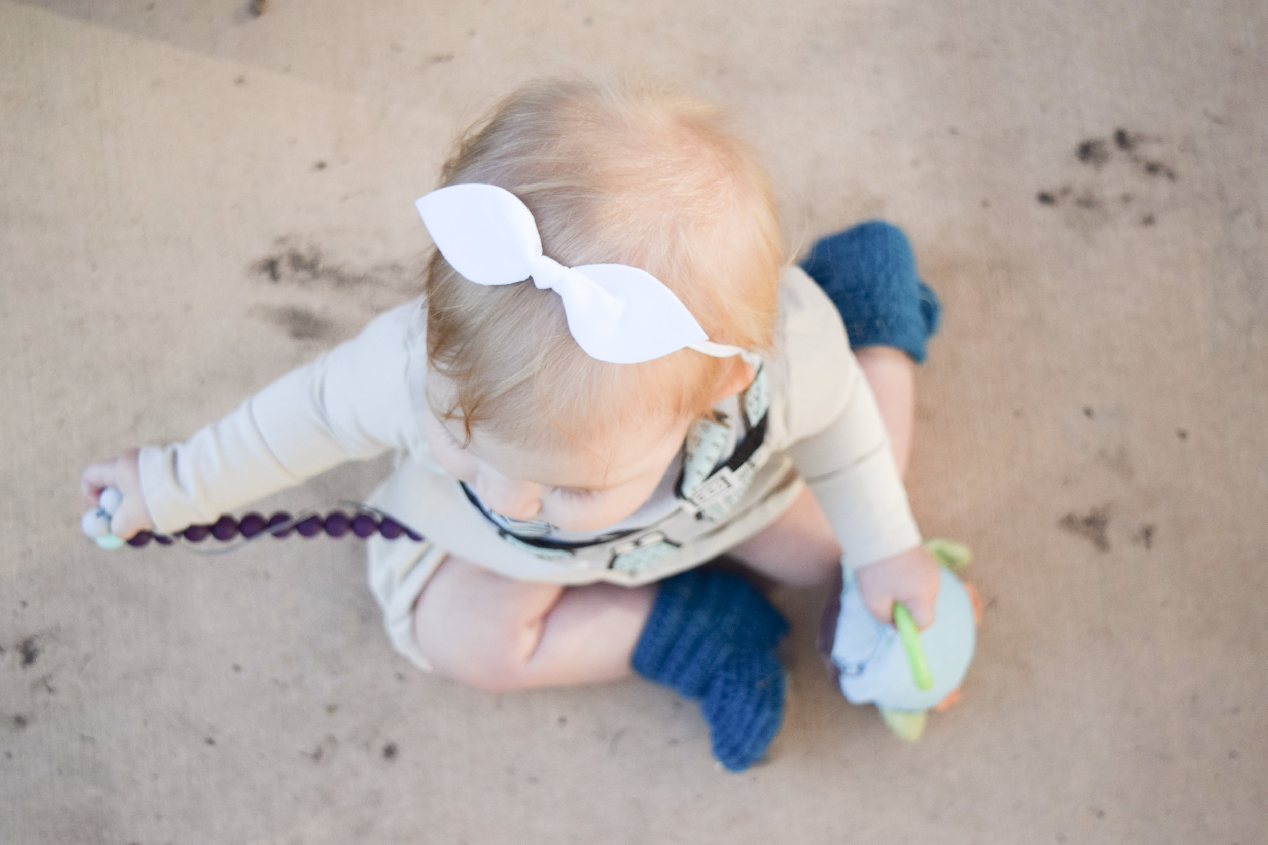 BABY FASHION - Baby Bib, White Baby Bow, Teal Baby Boots, Tan Baby Dress