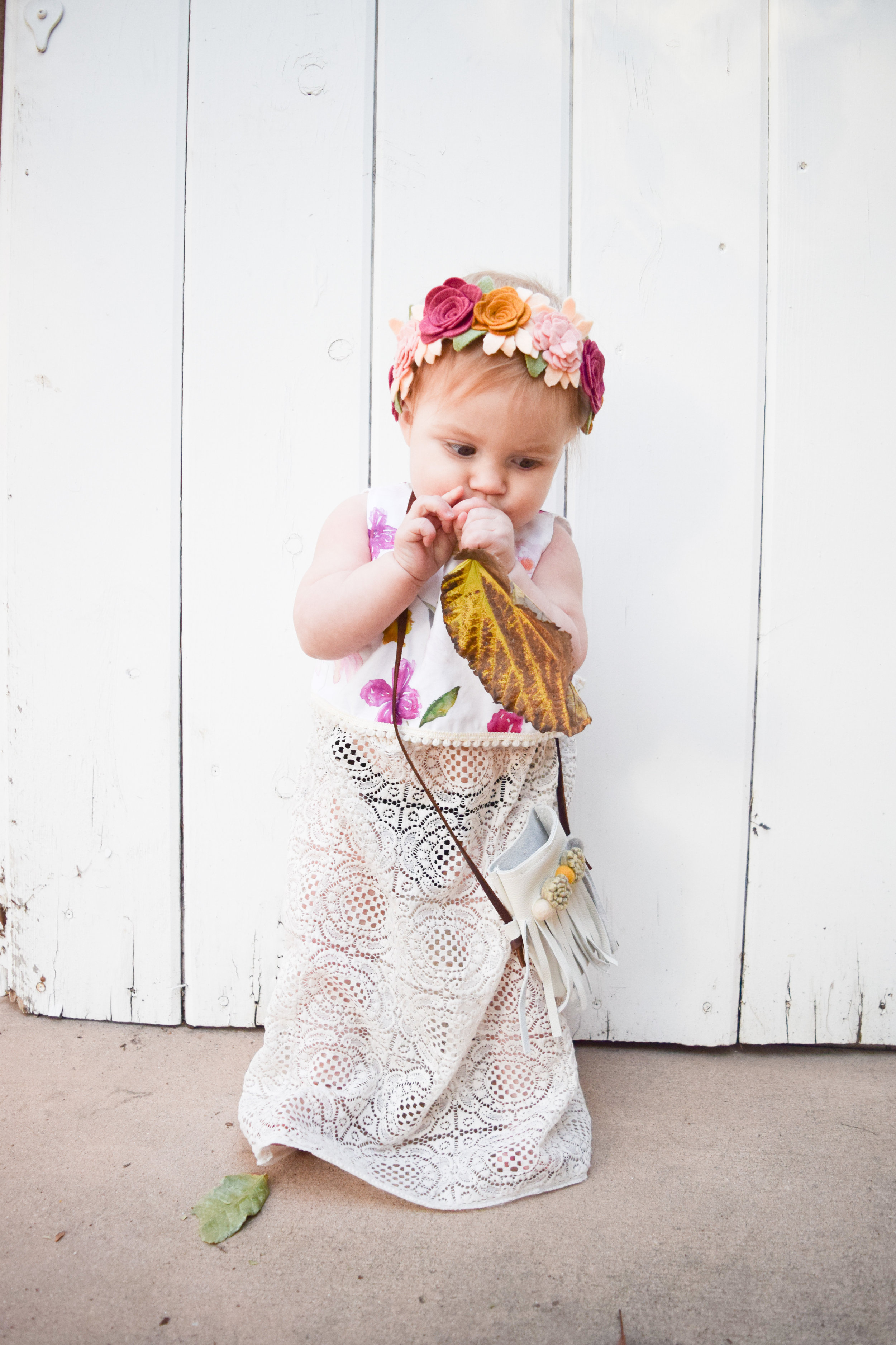 BABY FASHION - Boho Baby Outfit - Lace Baby Skirt, Floral Baby Crop Top, Baby Flower Crown