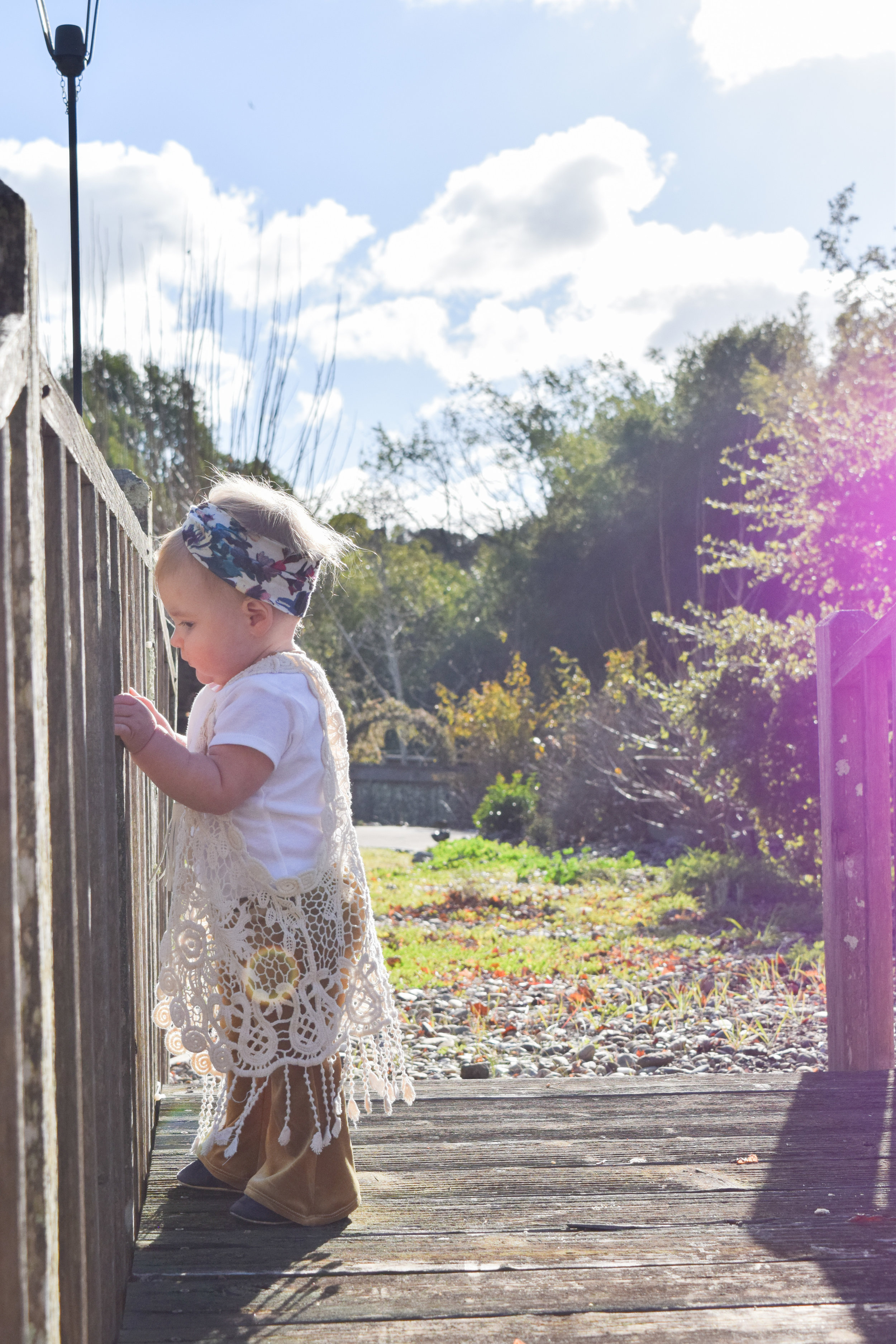 BABY FASHION | Gold Velvet Baby Bell Bottoms, floral print baby headwrap, boho baby outfit