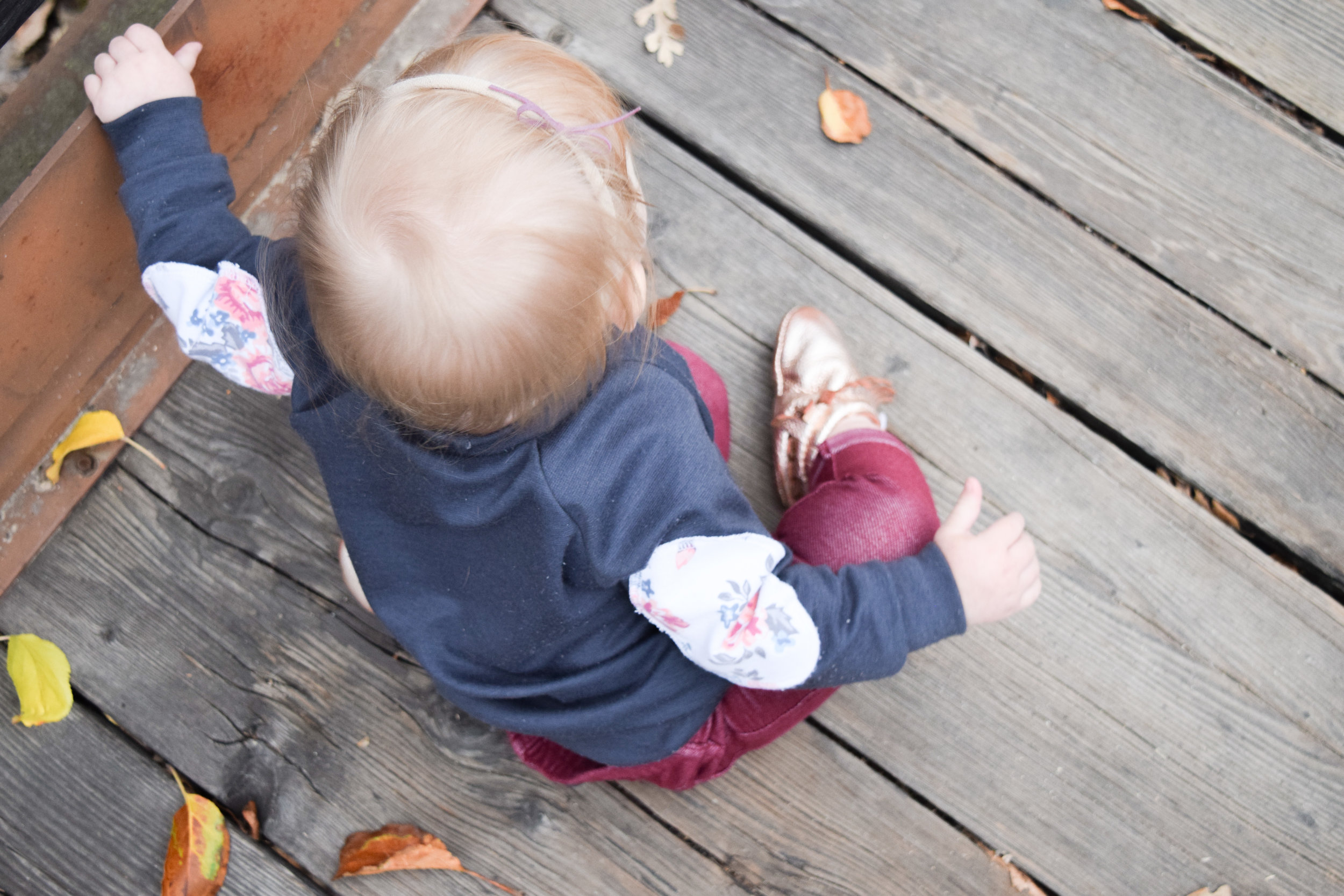 BABY FASHION - gray baby sweatshirt with floral elbow pads, maroon baby skinny jeans, rose gold baby moccasins