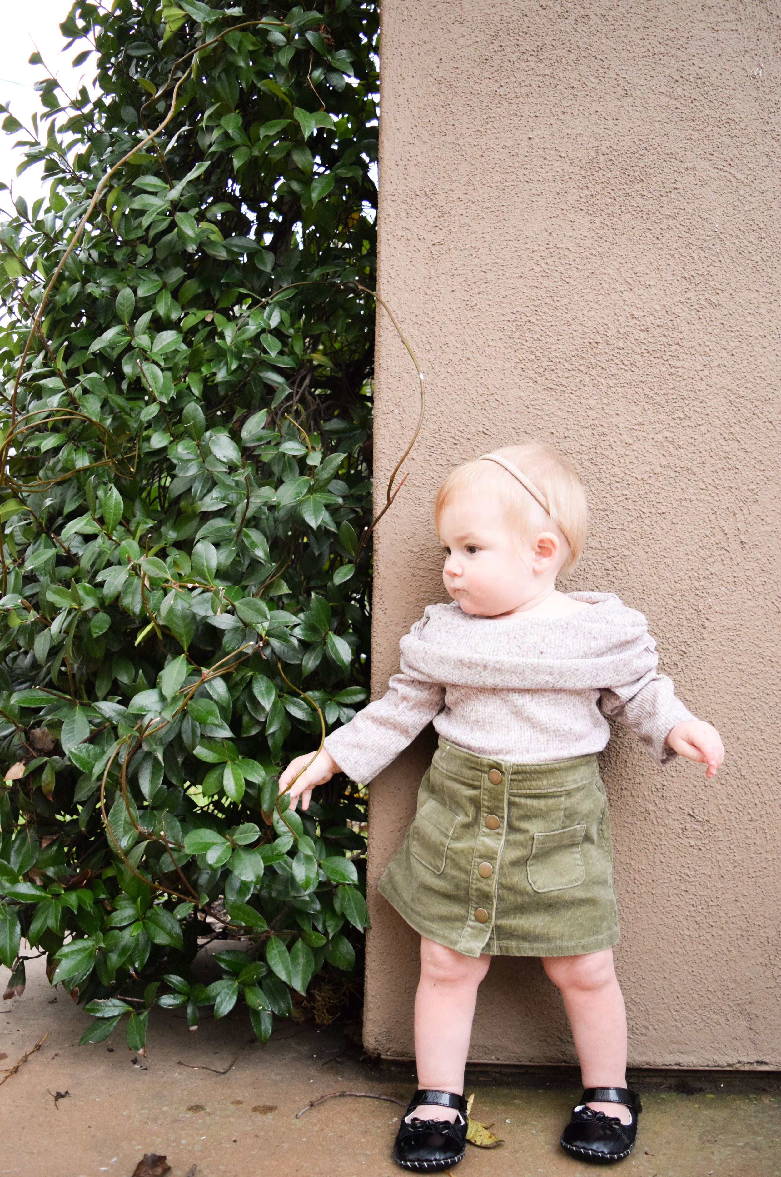 BABY FASHION - Tan off the shoulder baby tunic, olive target corduroy baby skirt