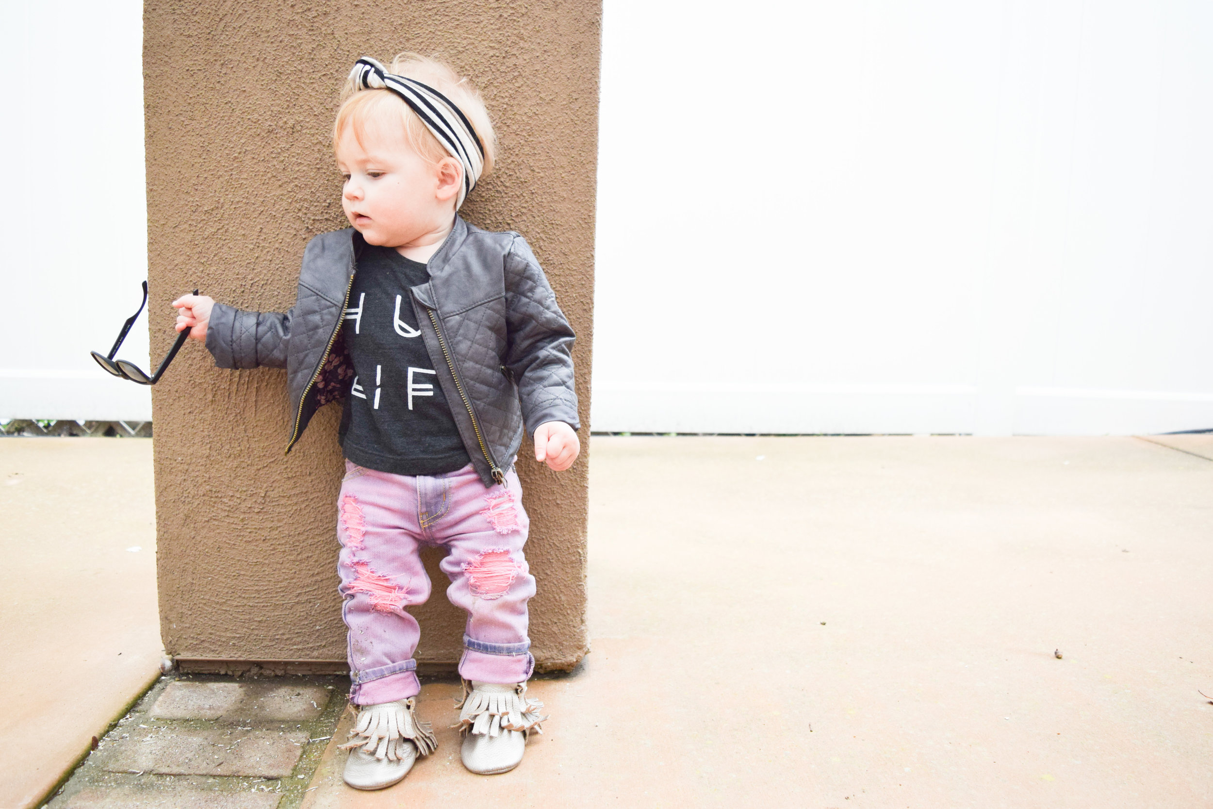 BABY FASHION - pink baby distressed jeans, baby leather jacket, hug life baby t shirt, baby sunglasses, champagne baby fringe boots