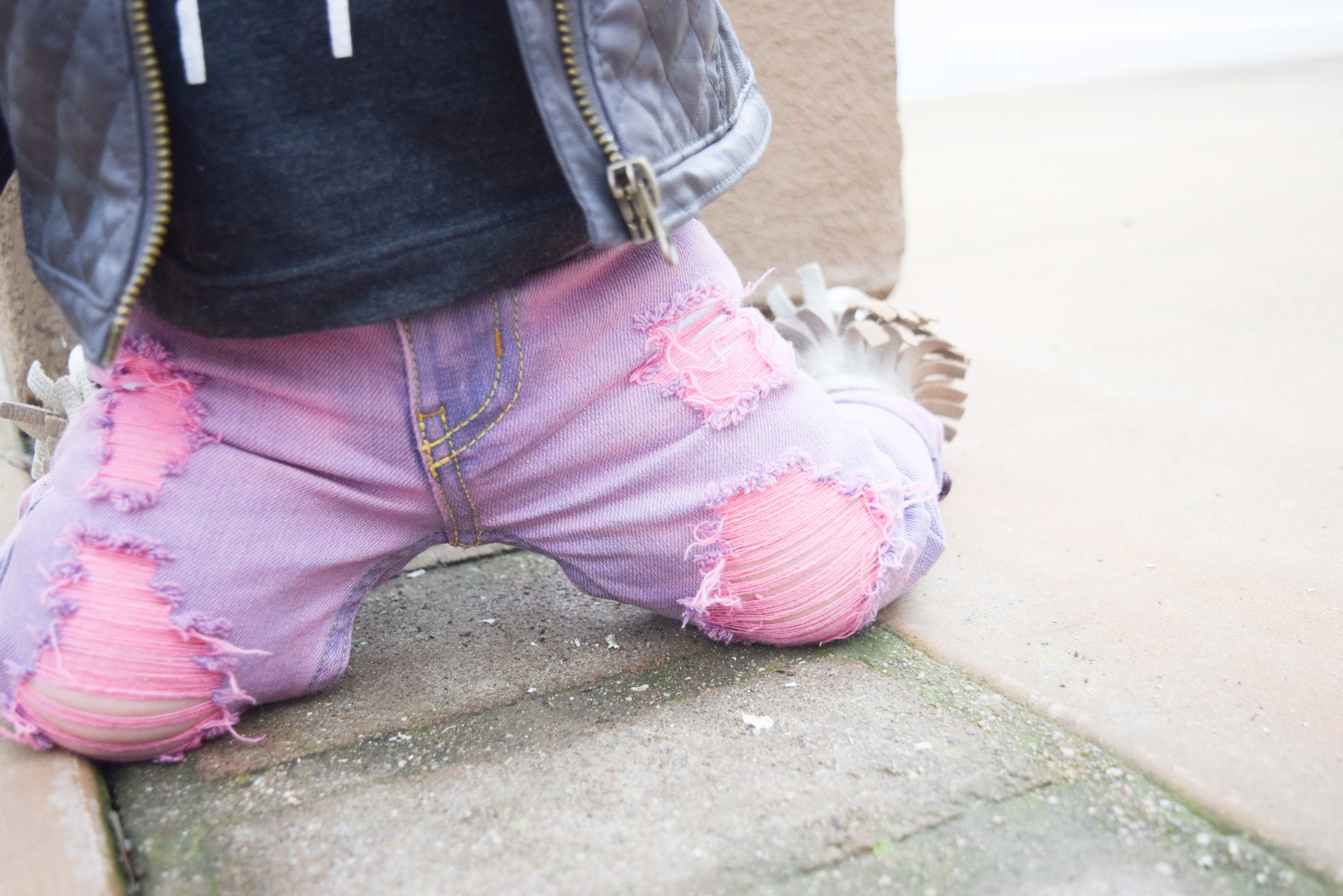 rocker baby fashion - pink baby distressed jeans