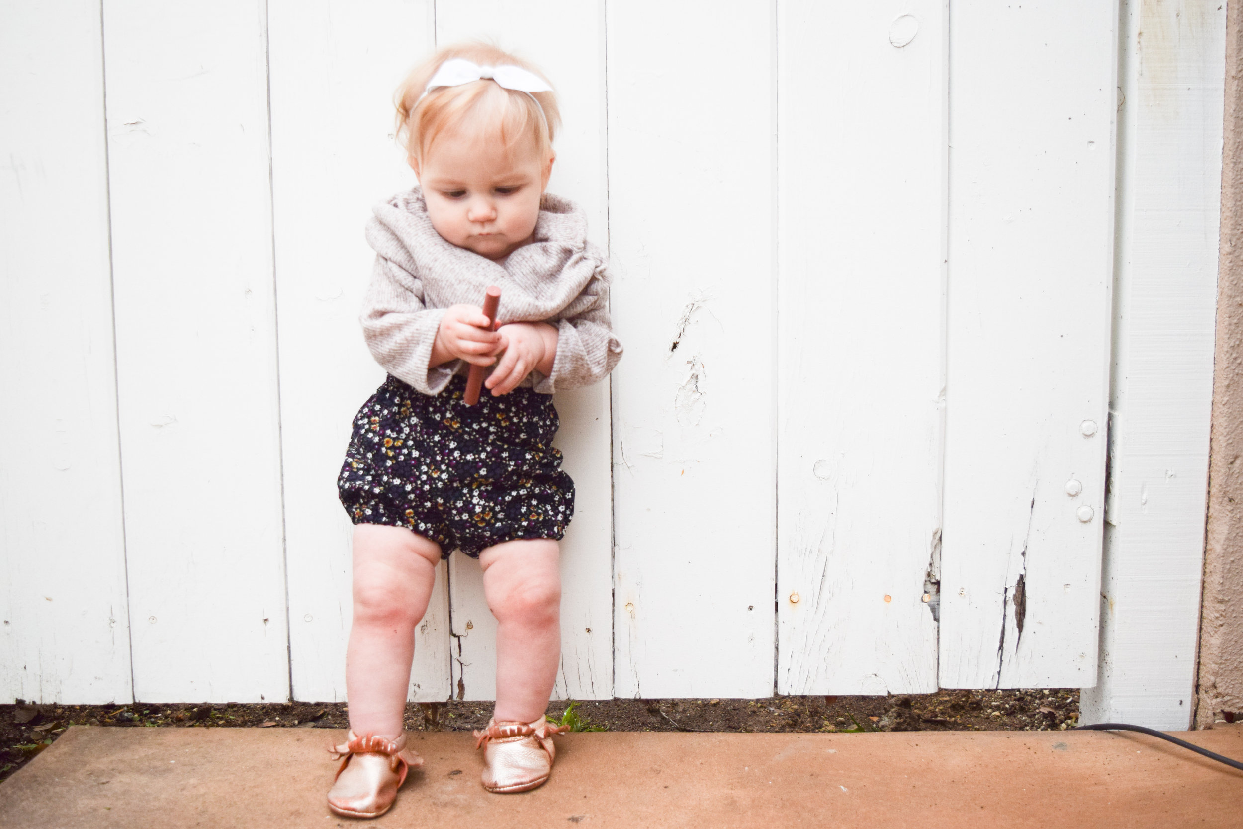 BABY FASHION -- floral corduroy baby bloomers, baby off the shoulder shirt, rose gold baby moccasins