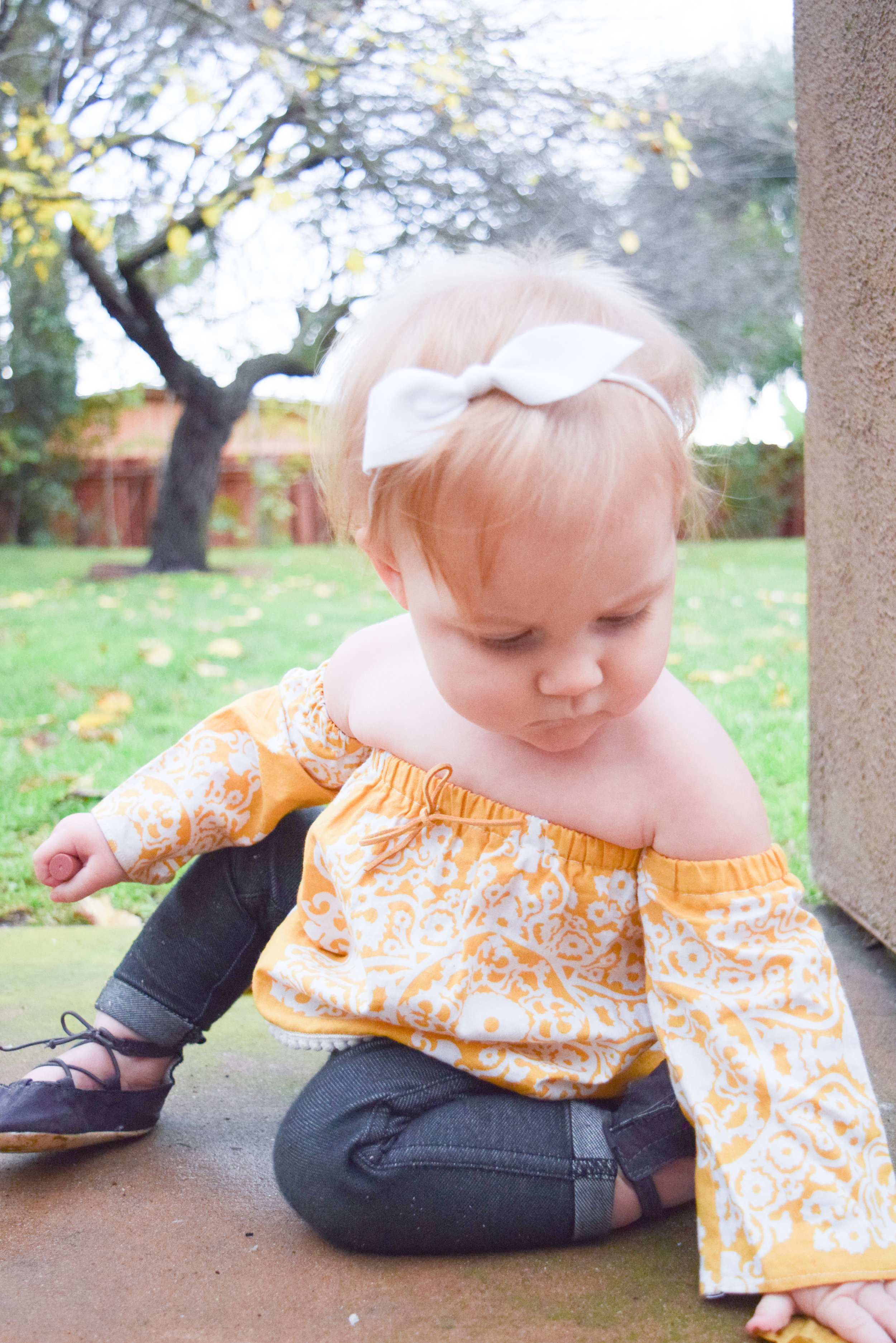 Baby Fashion - Off the shoulder baby shirt, baby skinny jeans, baby ballerina flats